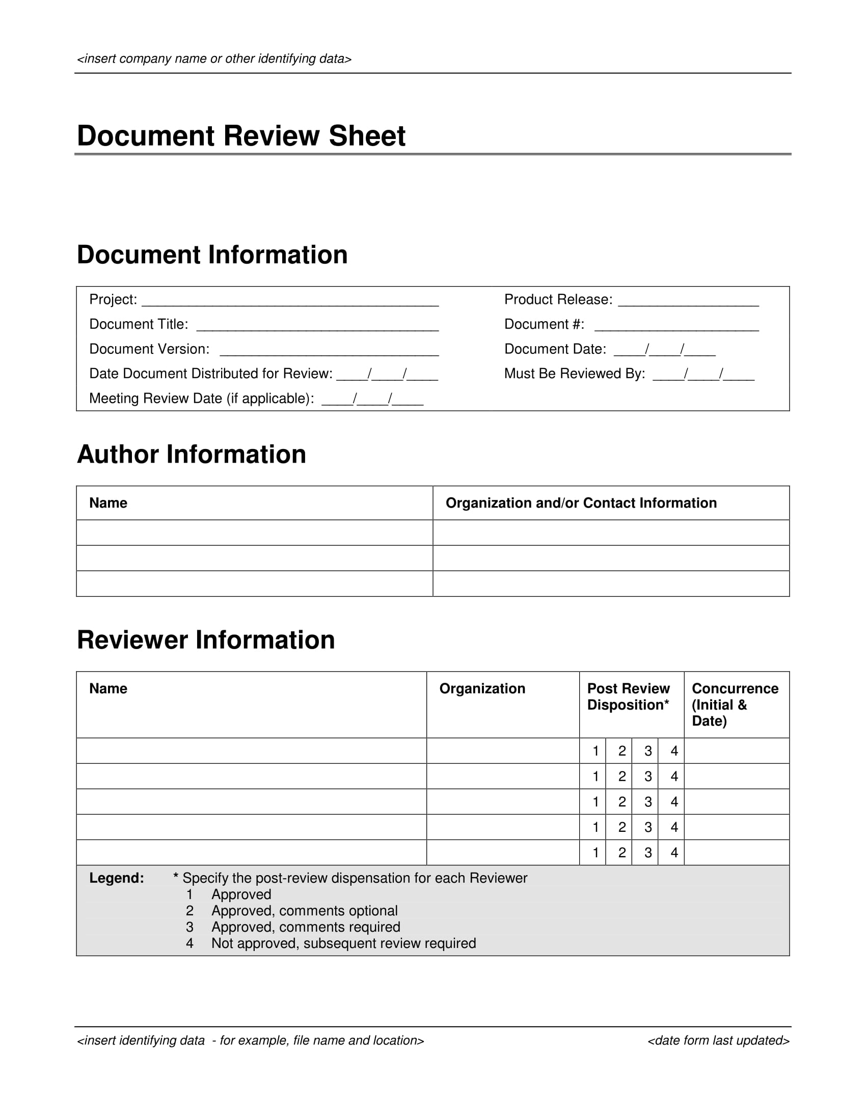 document review form sheet 1