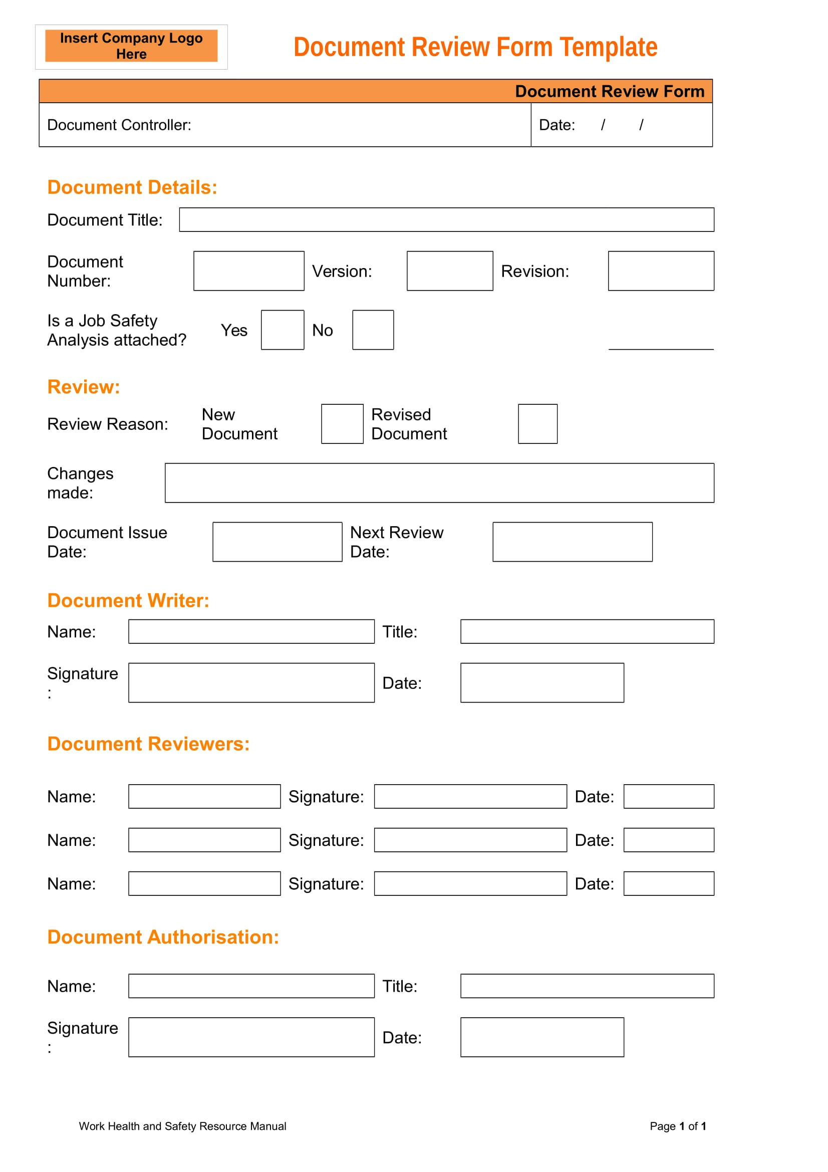 14 forms for document reviews for As is document template