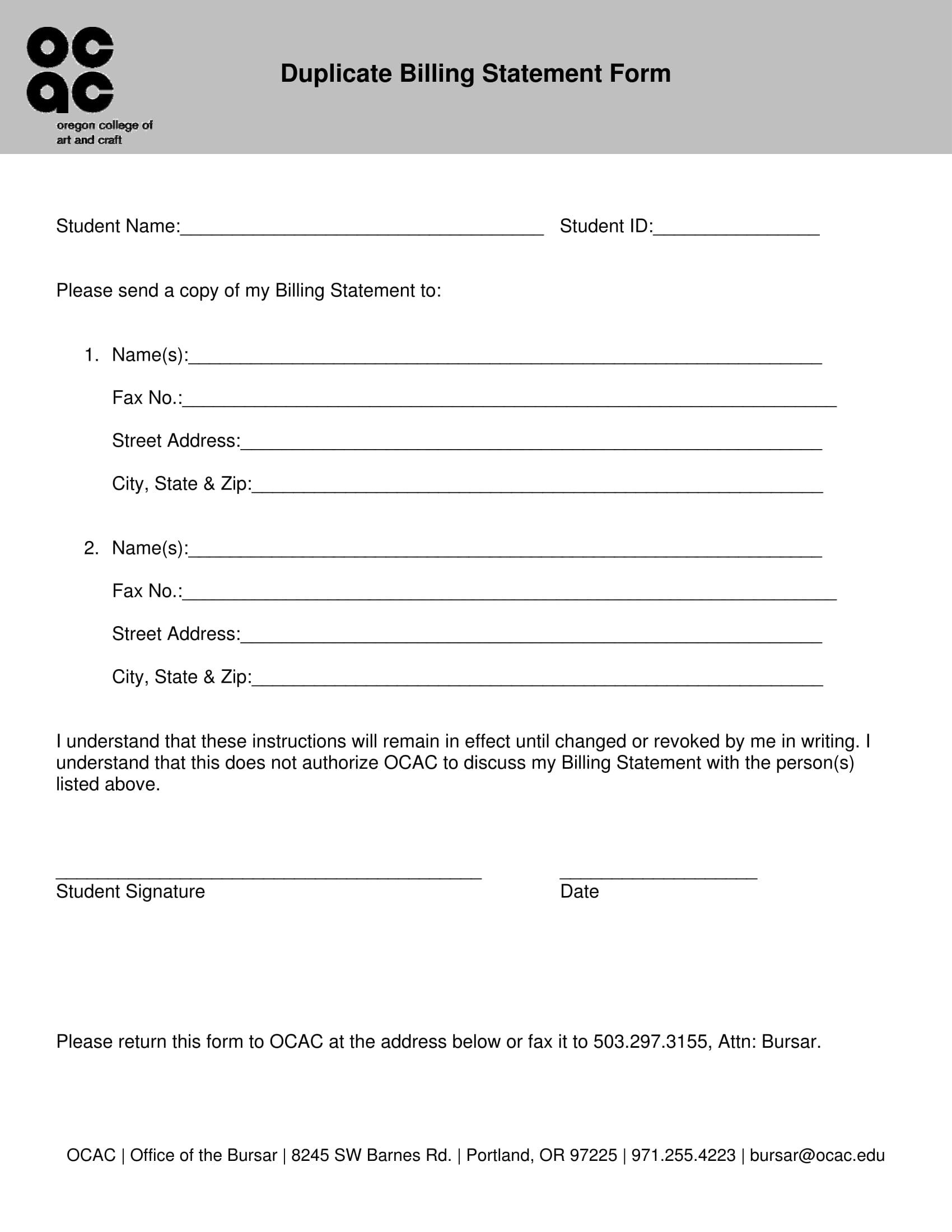 duplicate billing statement form 1