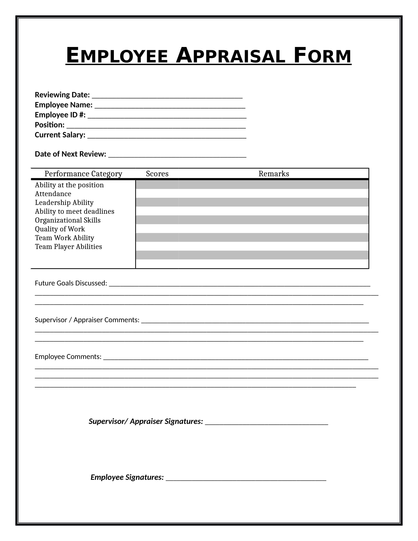 employee appraisal review form 1