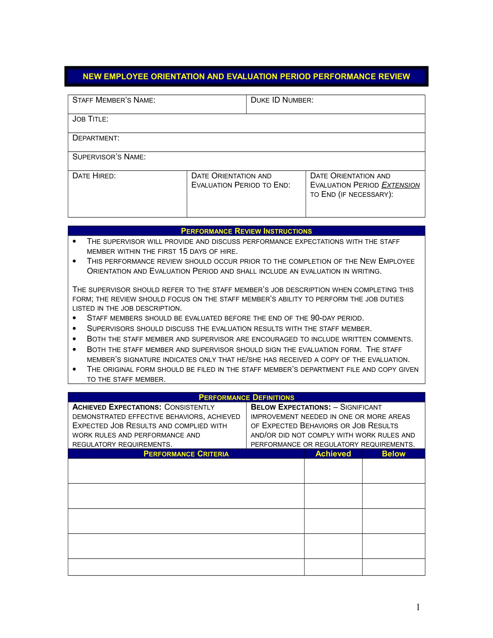 free employee evaluation form templates
