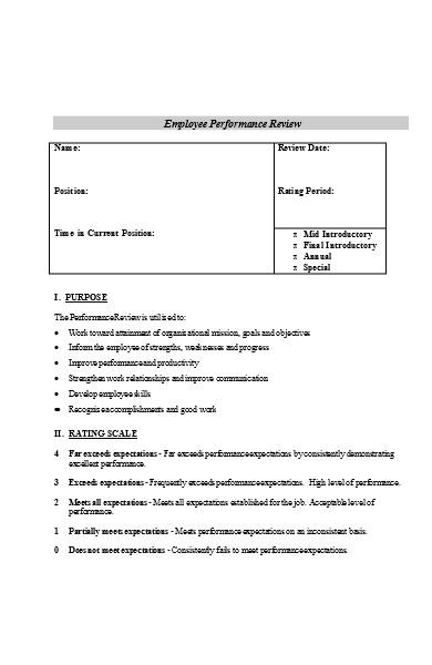 employee perforamance reviews form