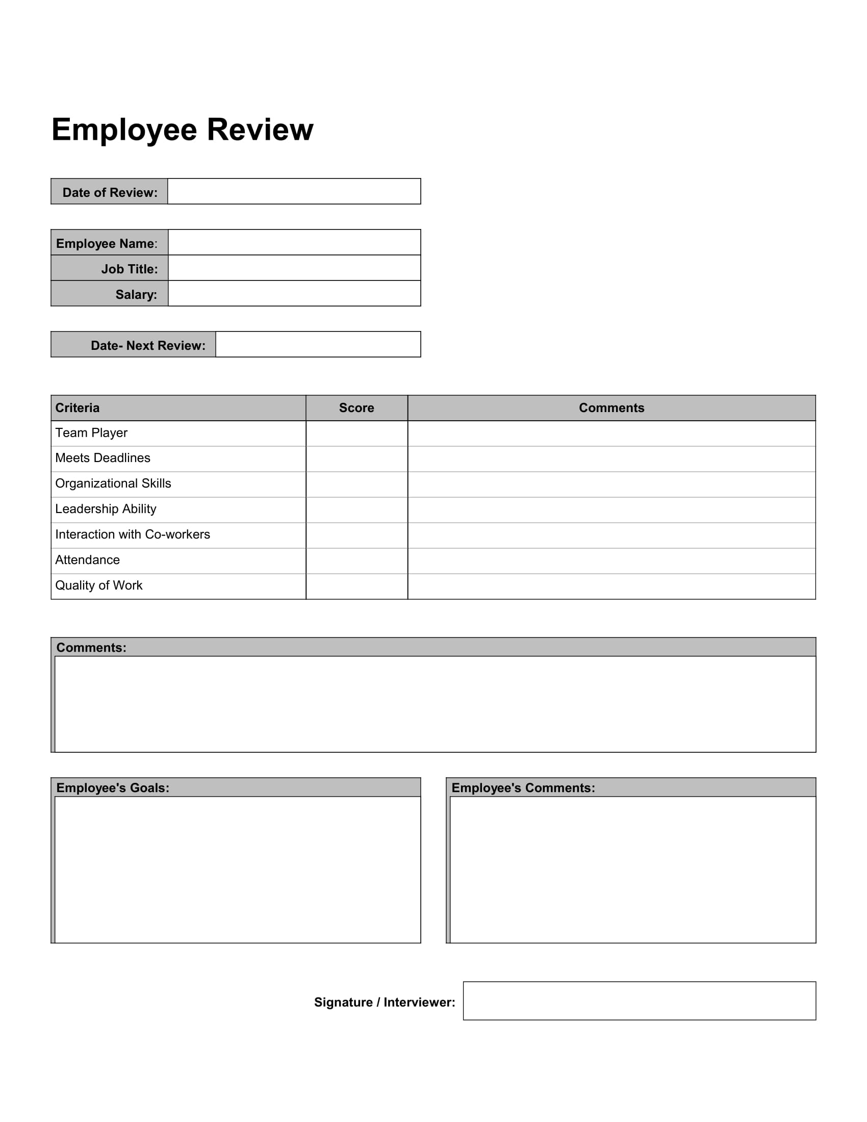 10 work review forms free word pdf format download for Quarterly employee review template