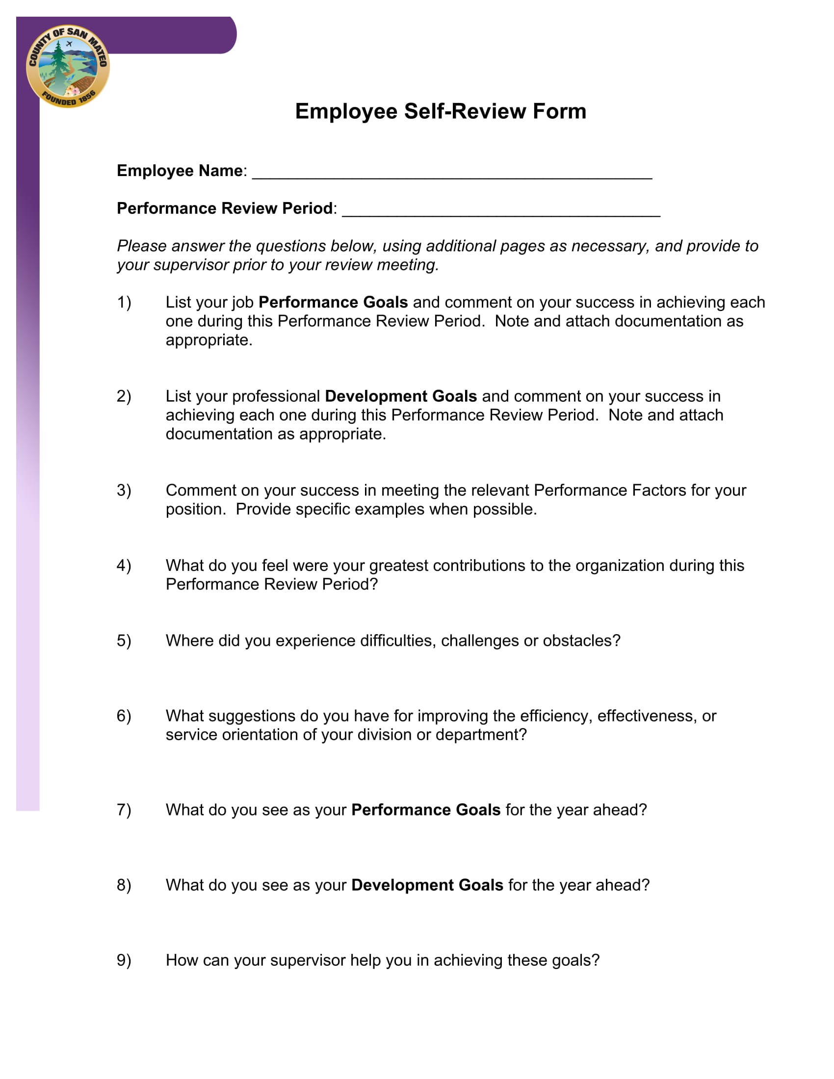 employee self review form 1