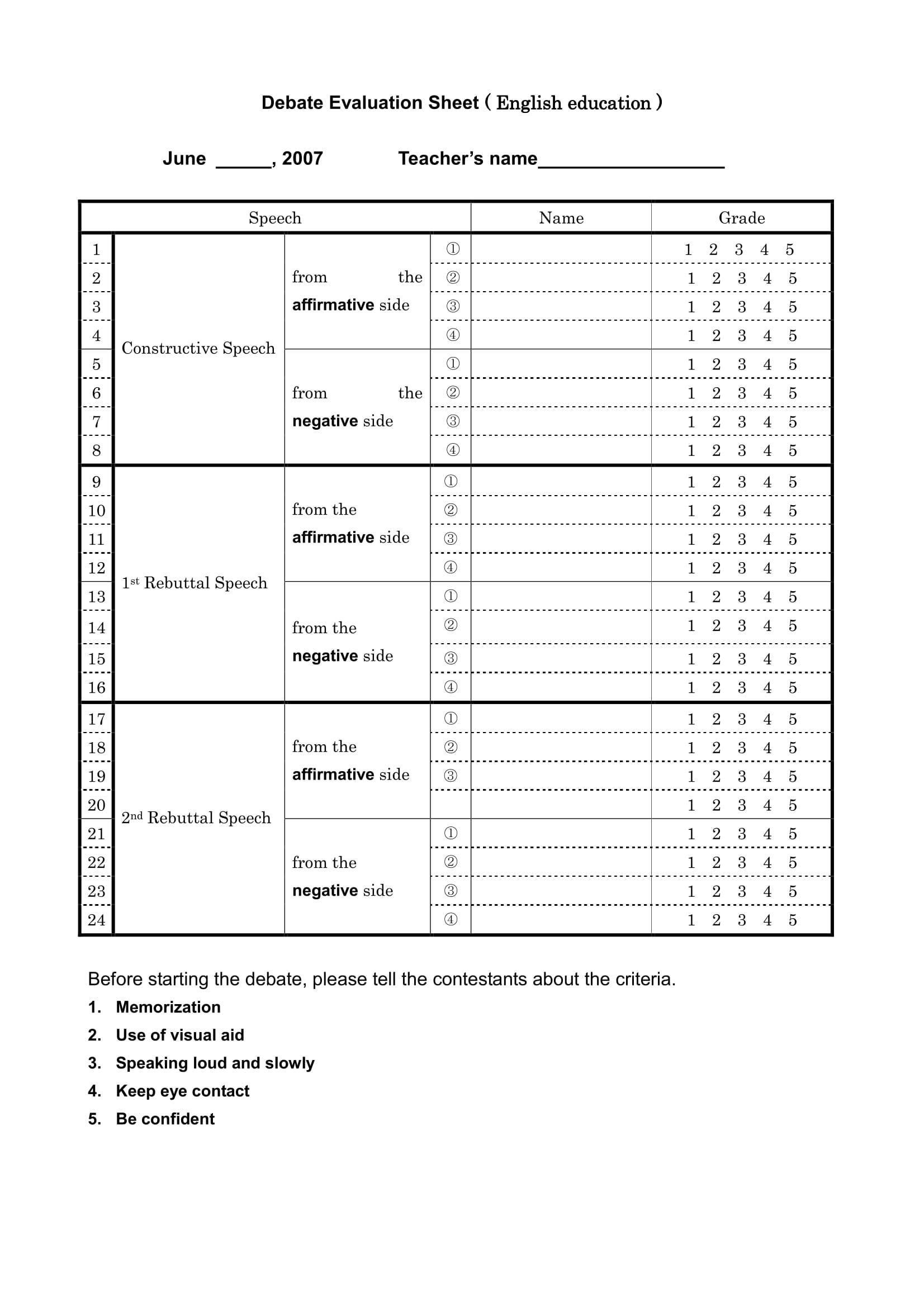 english education debate evaluation form 1