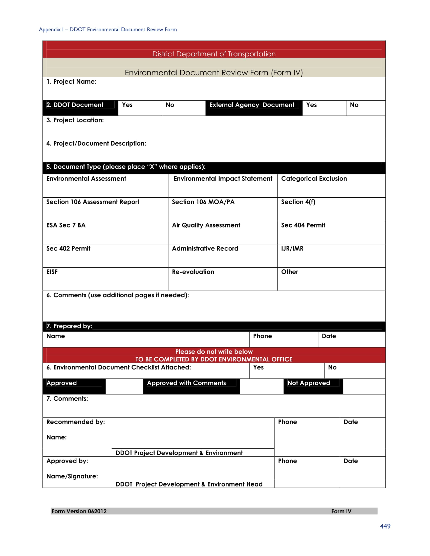 environmental document review form 3