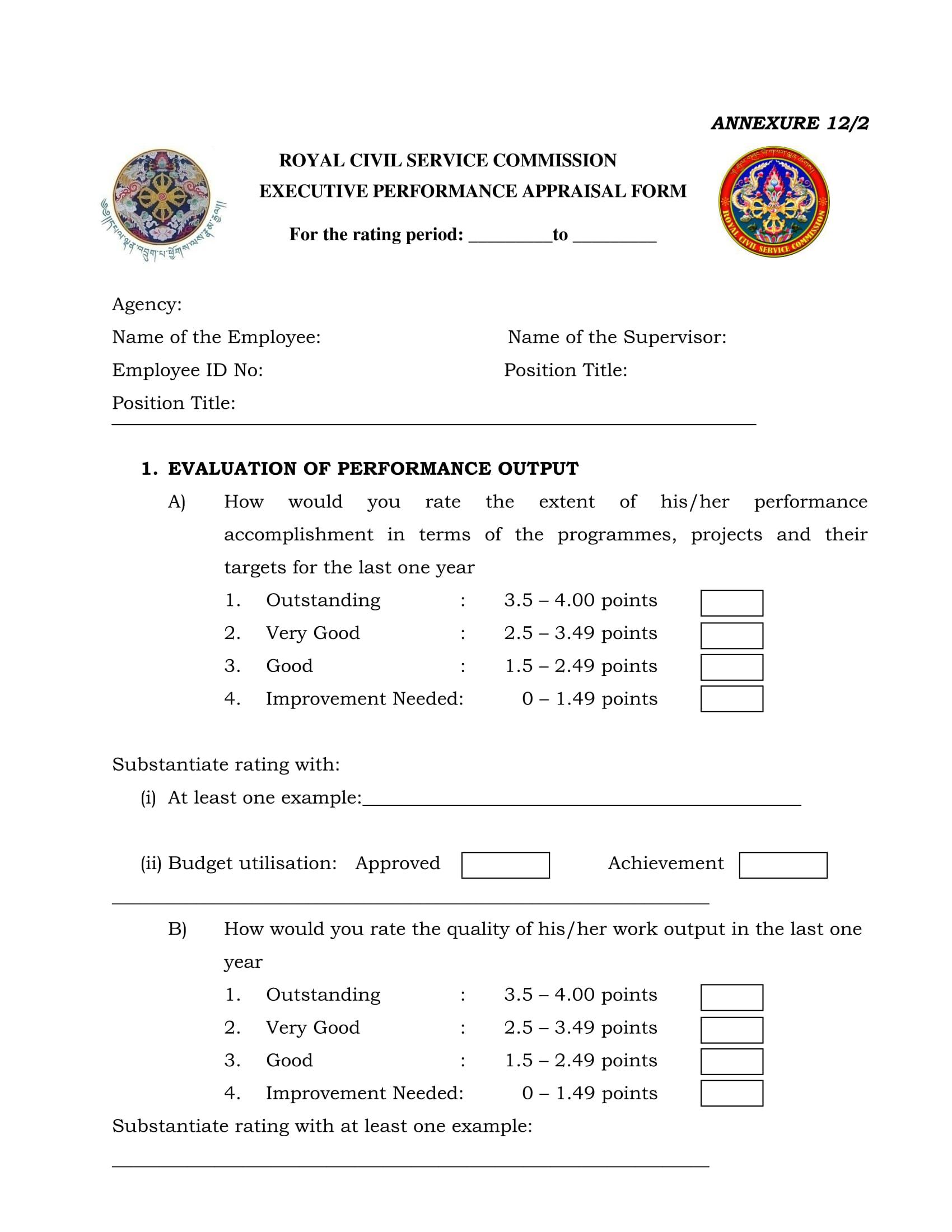 executive performance appraisal form 1