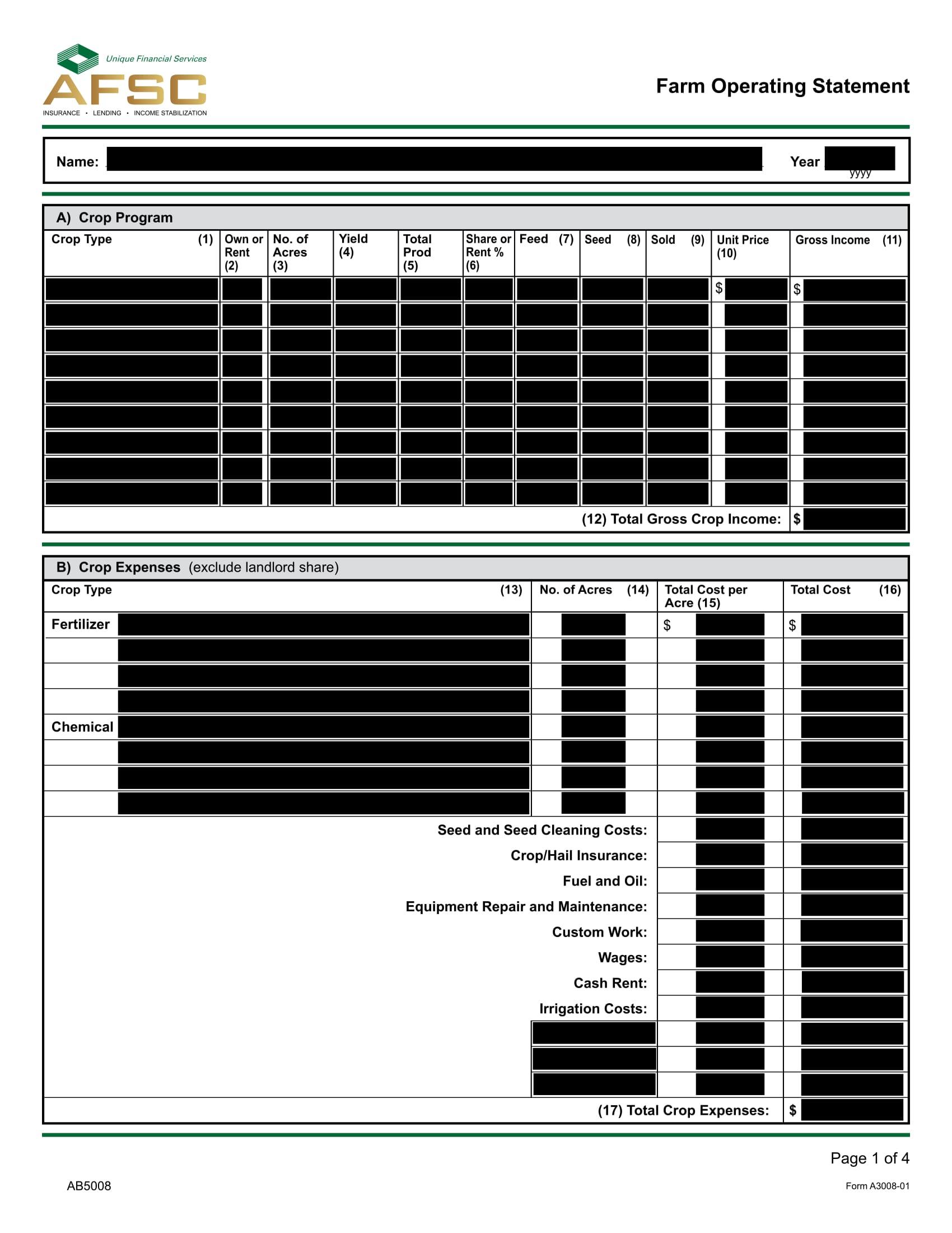farm operating statement form 1