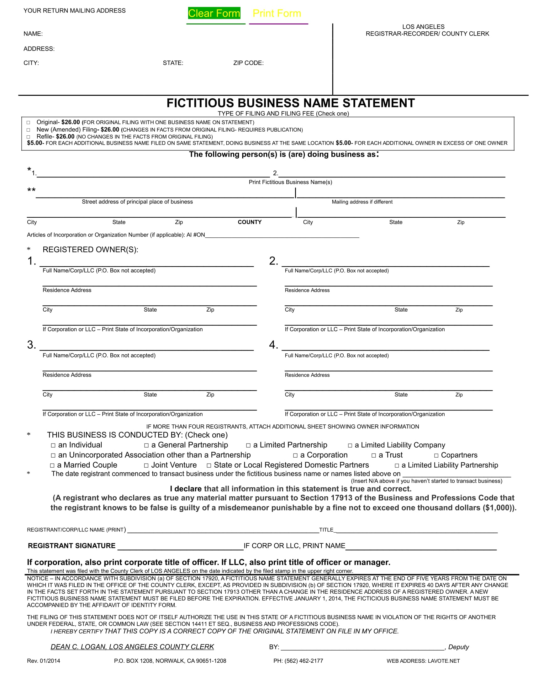 fictitious business name statement form 1