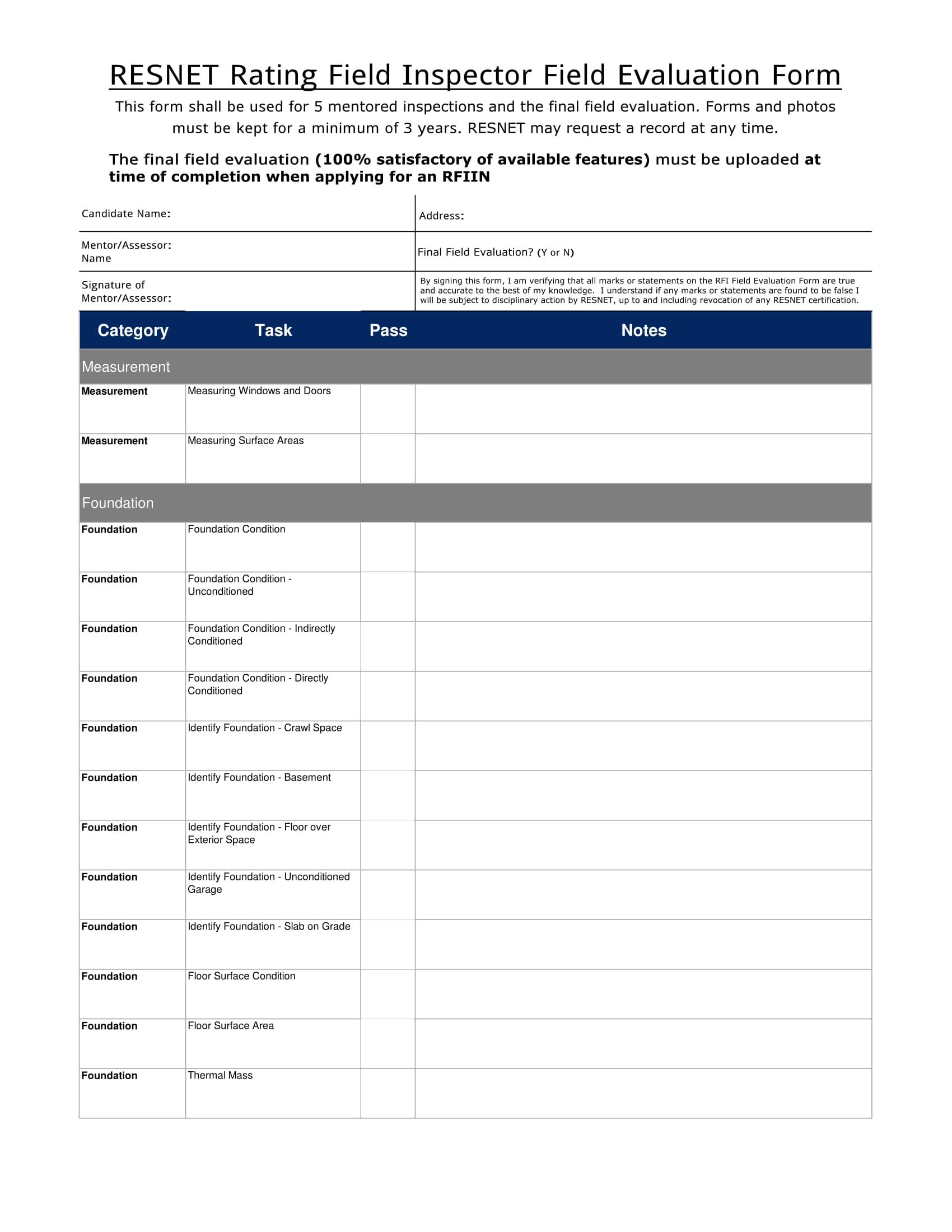 field inspector field evaluation form 1