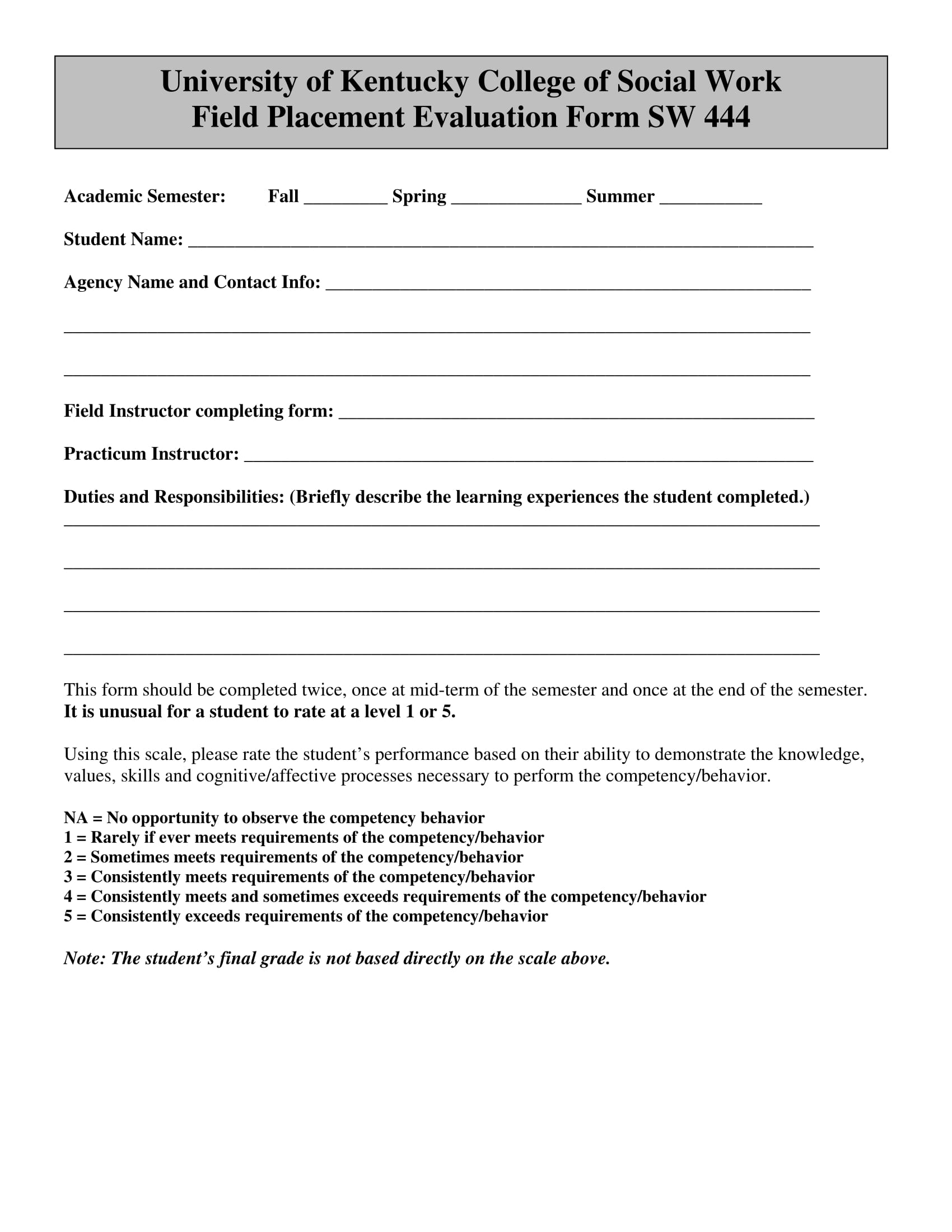 field placement evaluation form 1