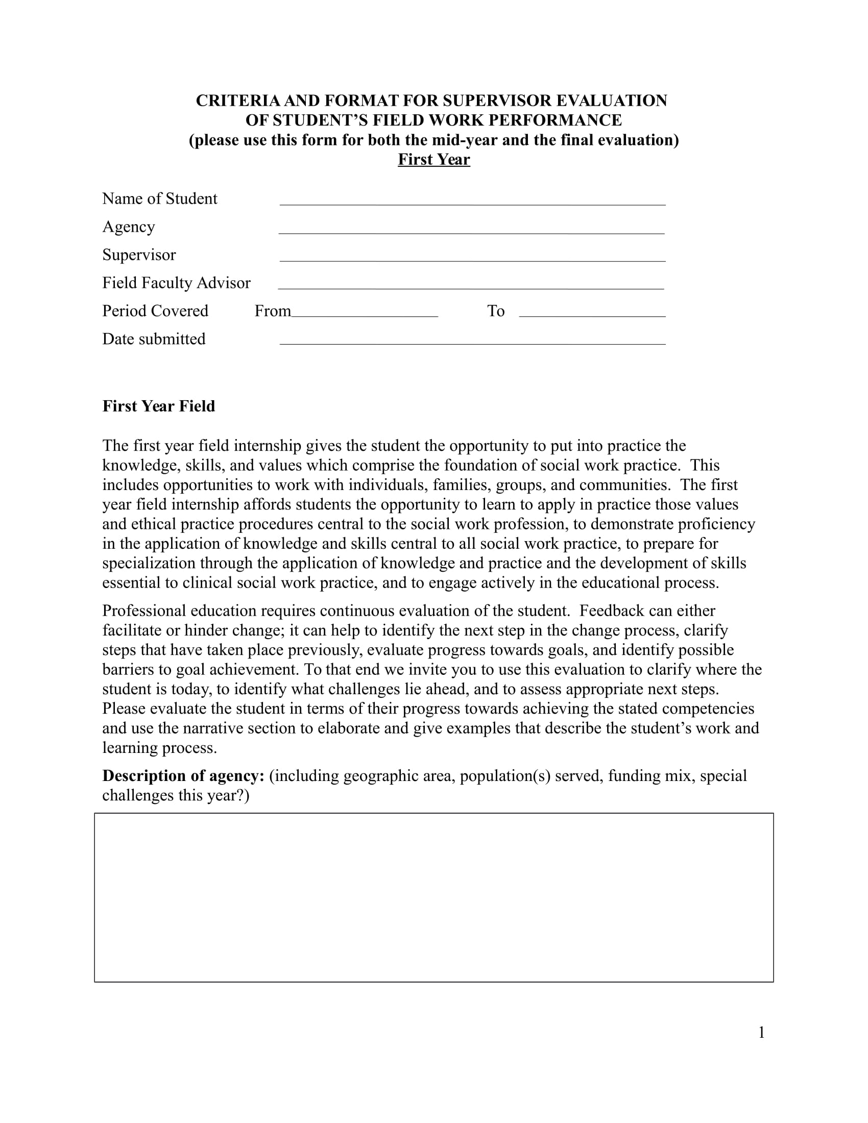 field work performance review form 1