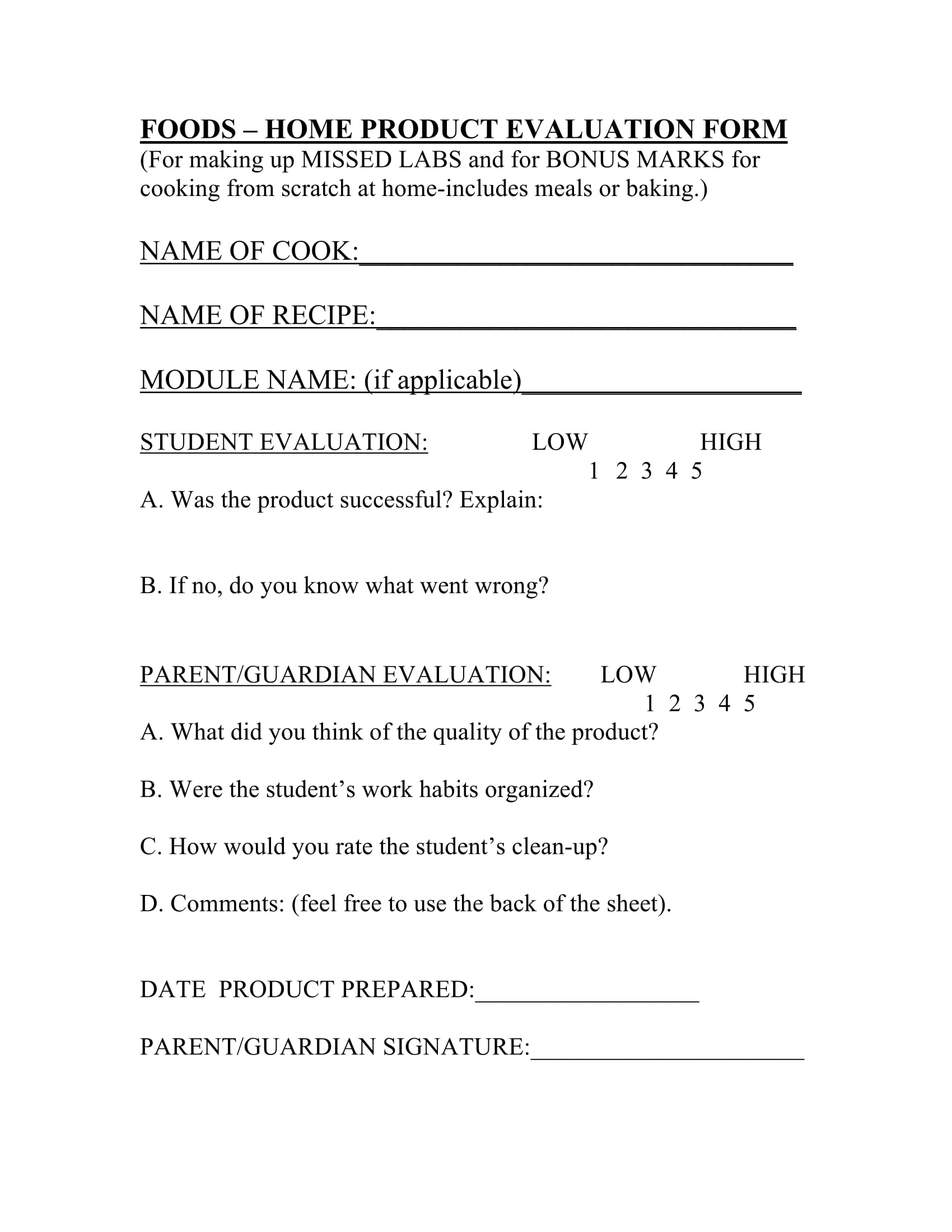 food product evaluation form 1