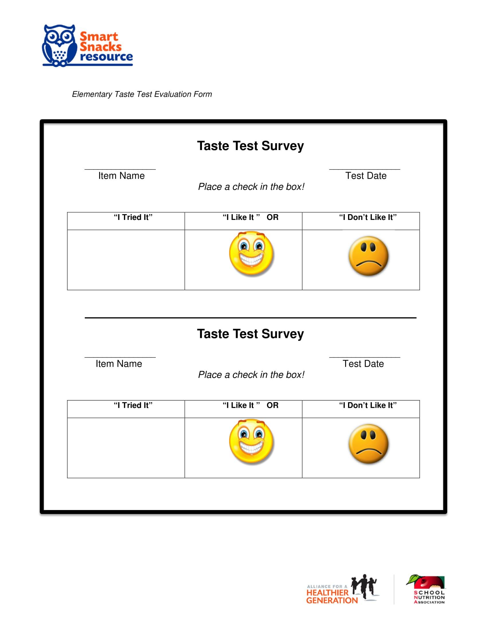 food taste testing evaluation form 2