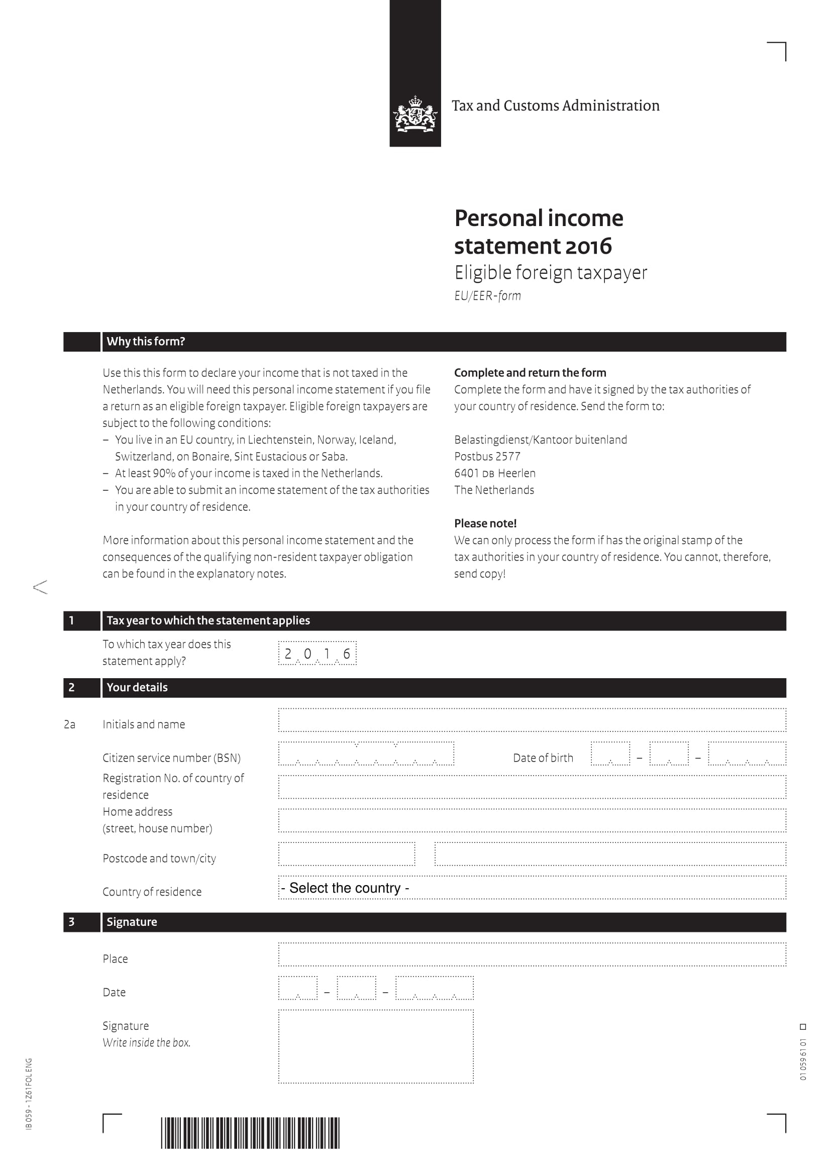 foreigner taxpayer income statement form 1
