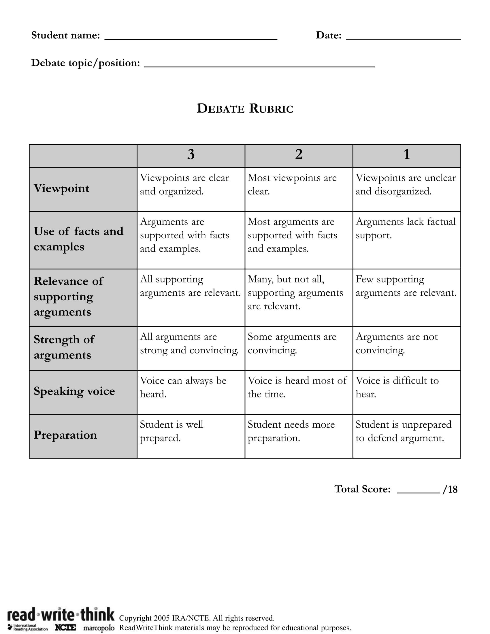 general debate evaluation form 1