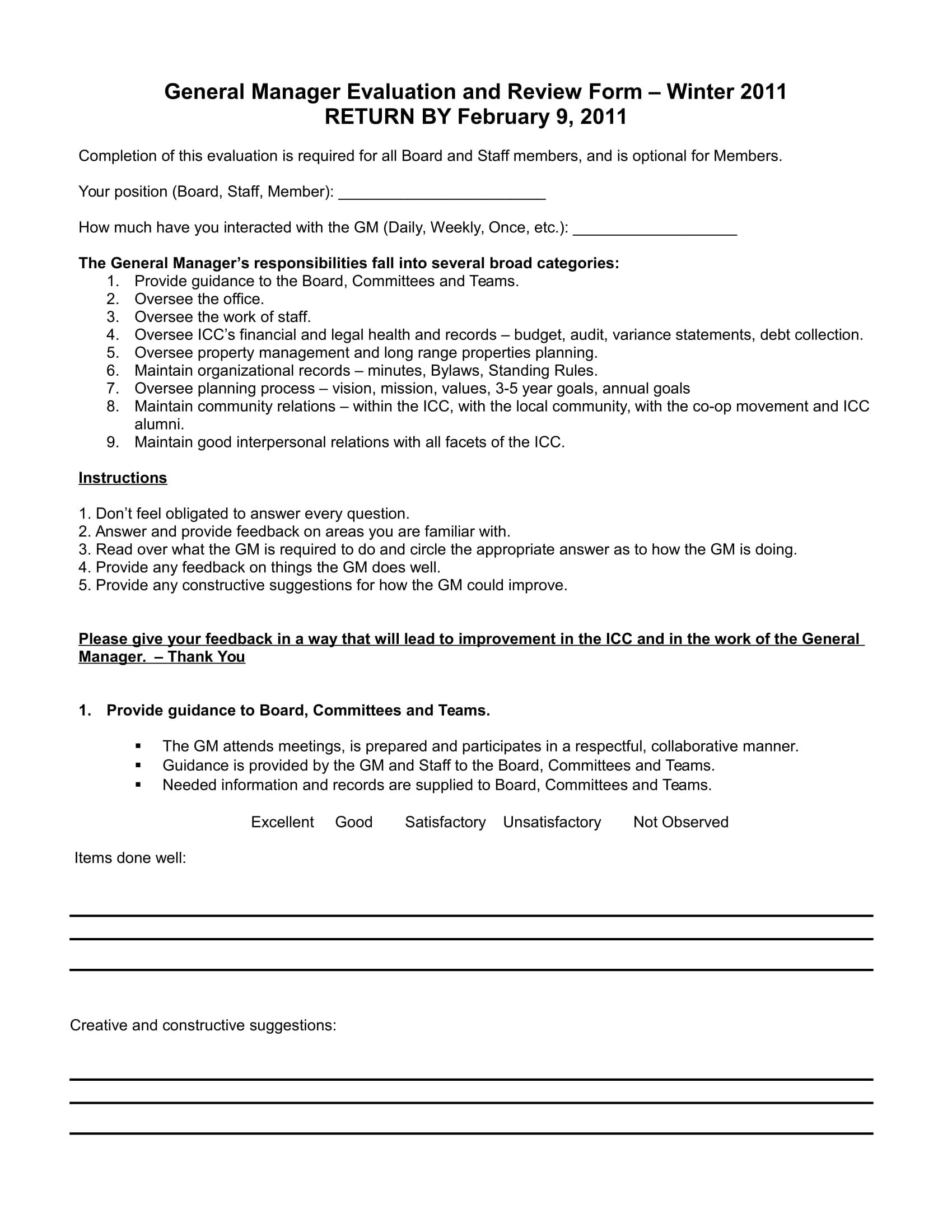 general manager evaluation and review form 1