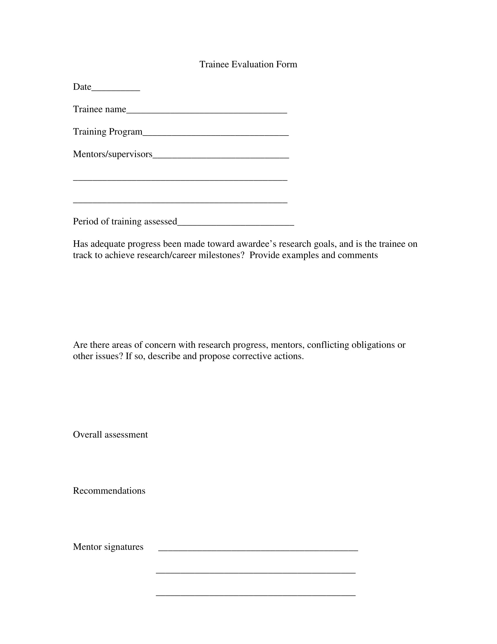 Training Feedback Form Free Word Purchase Receipt Template Free General  Trainee Evaluation Form 1 Training Feedback
