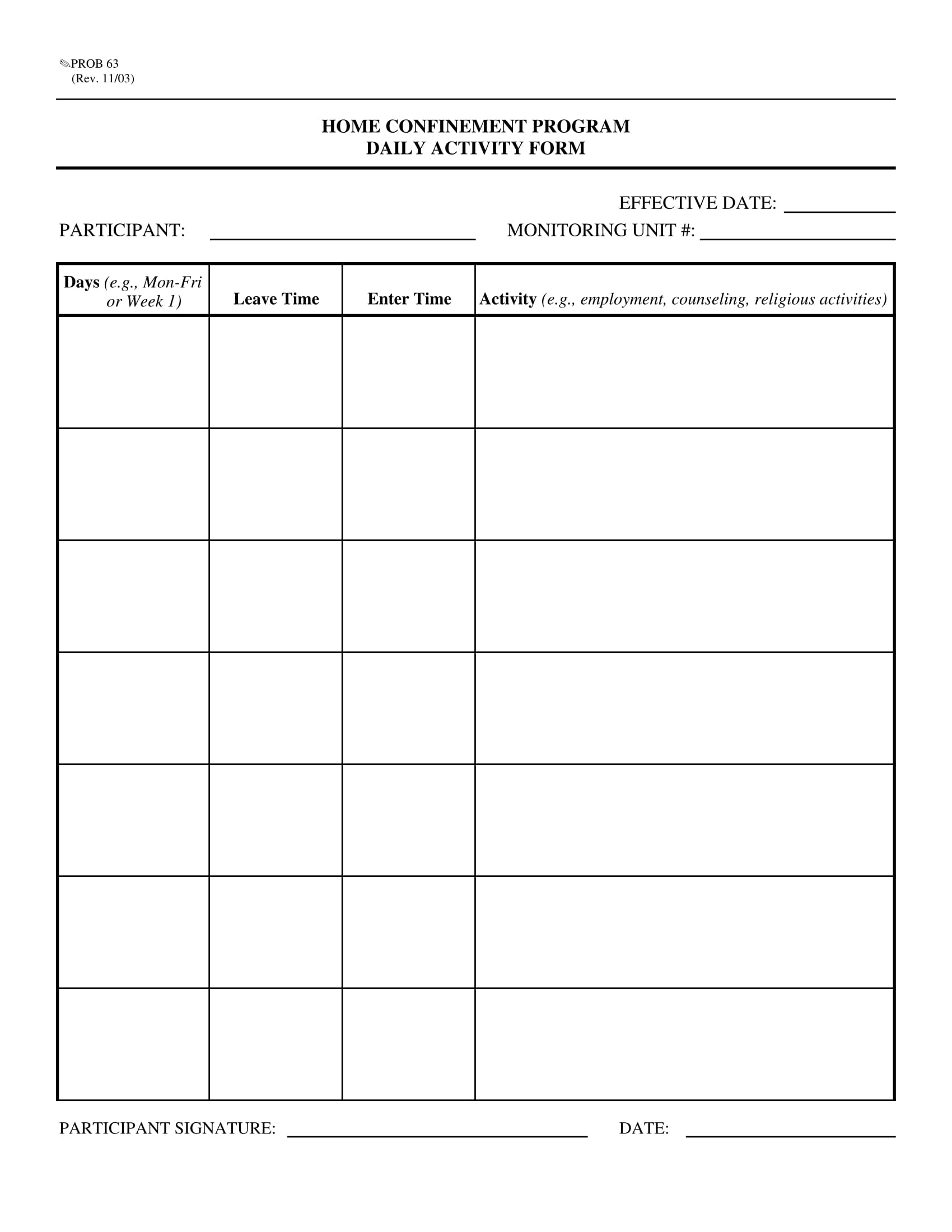 home confinement daily report form 1