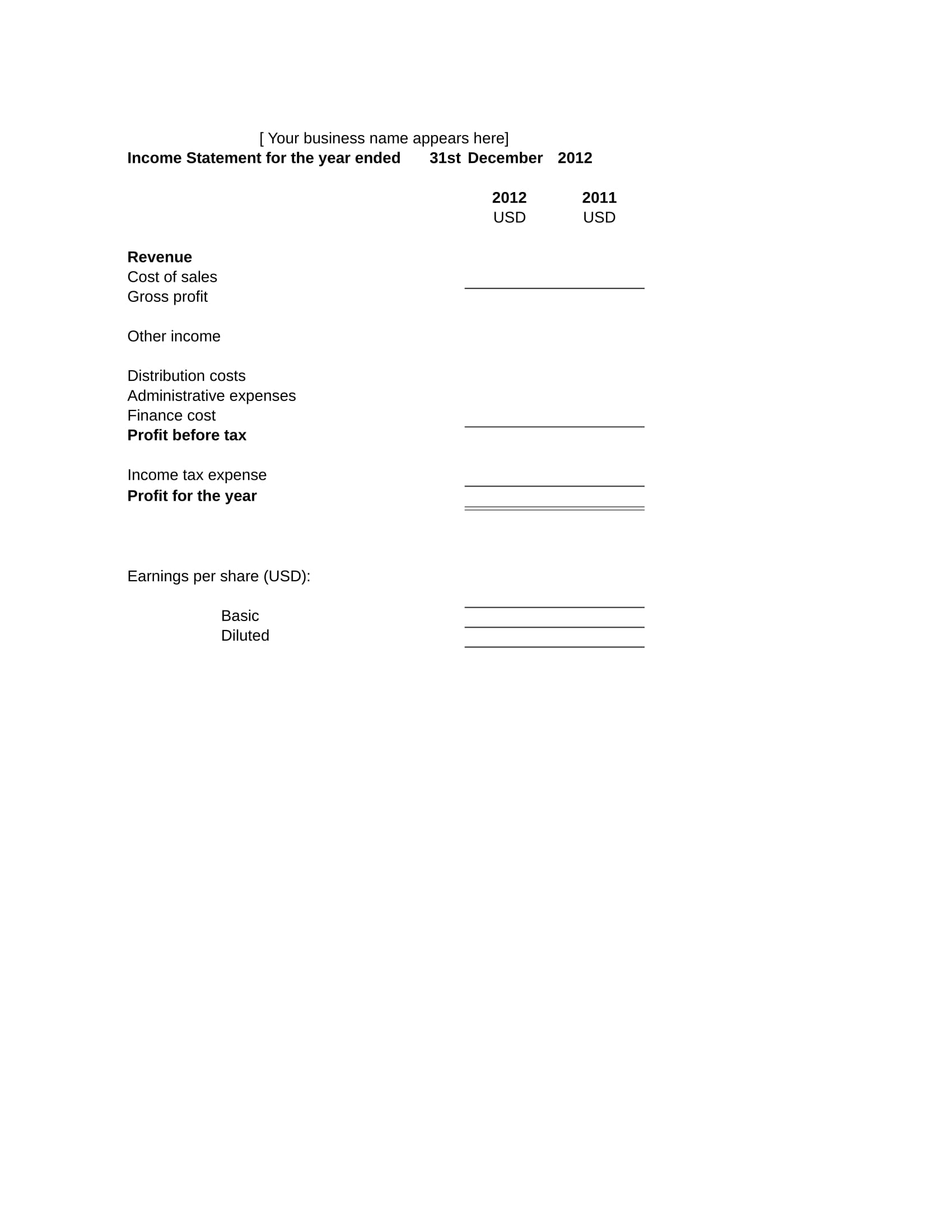income statement form 2
