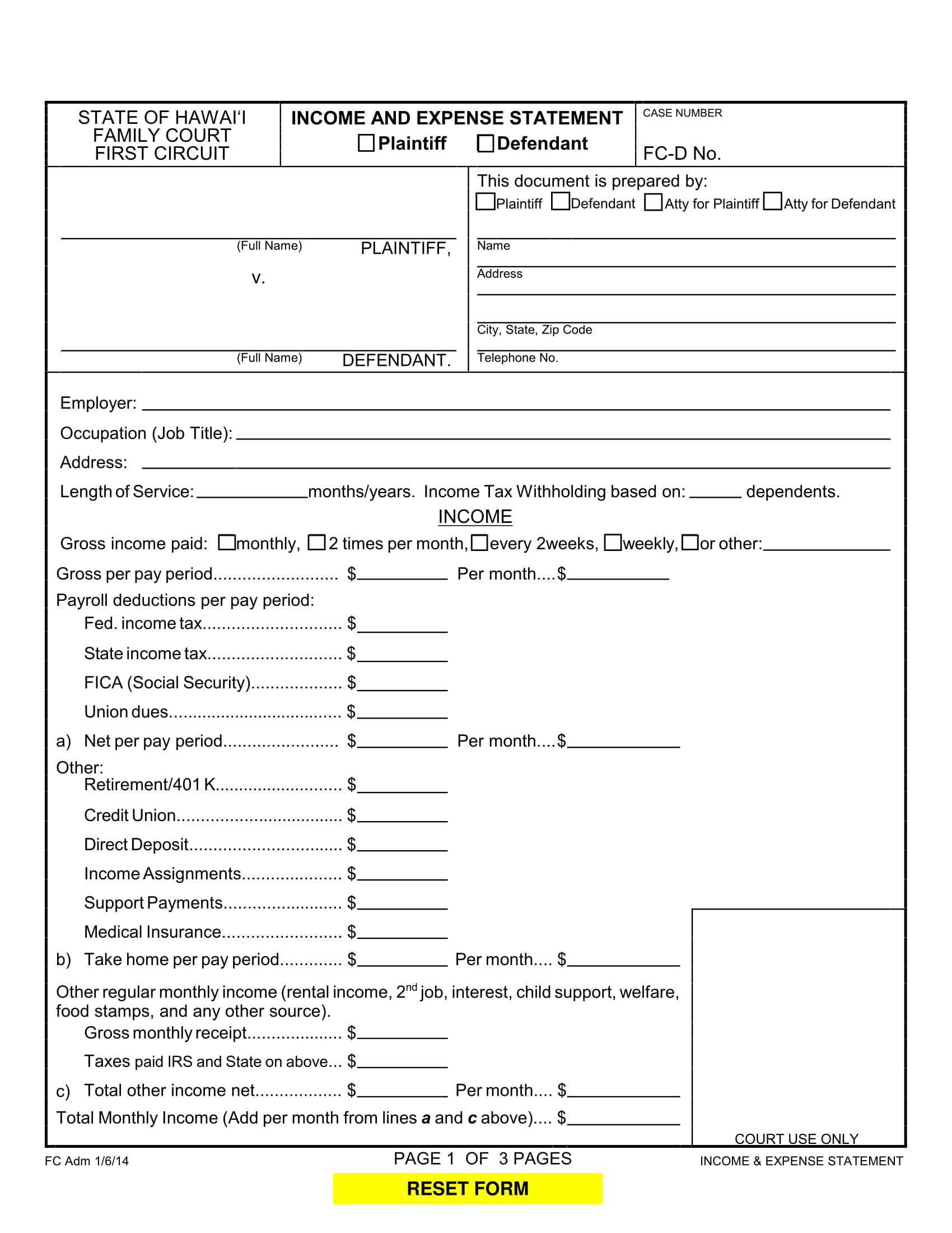 income and expense statement form 1