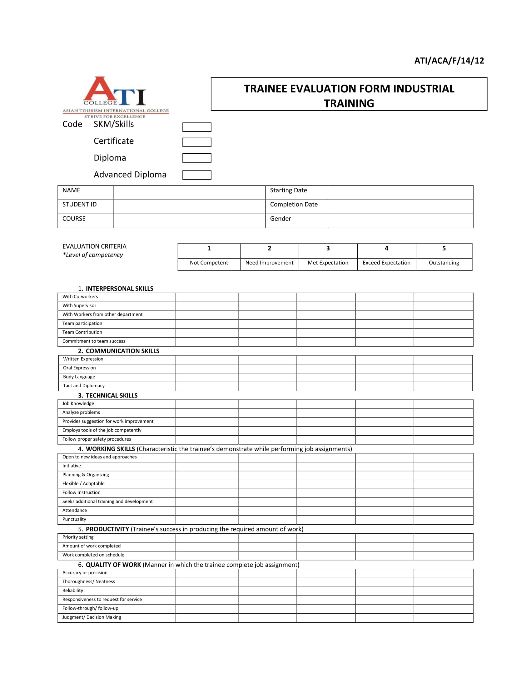 industrial college trainee evaluation form 1