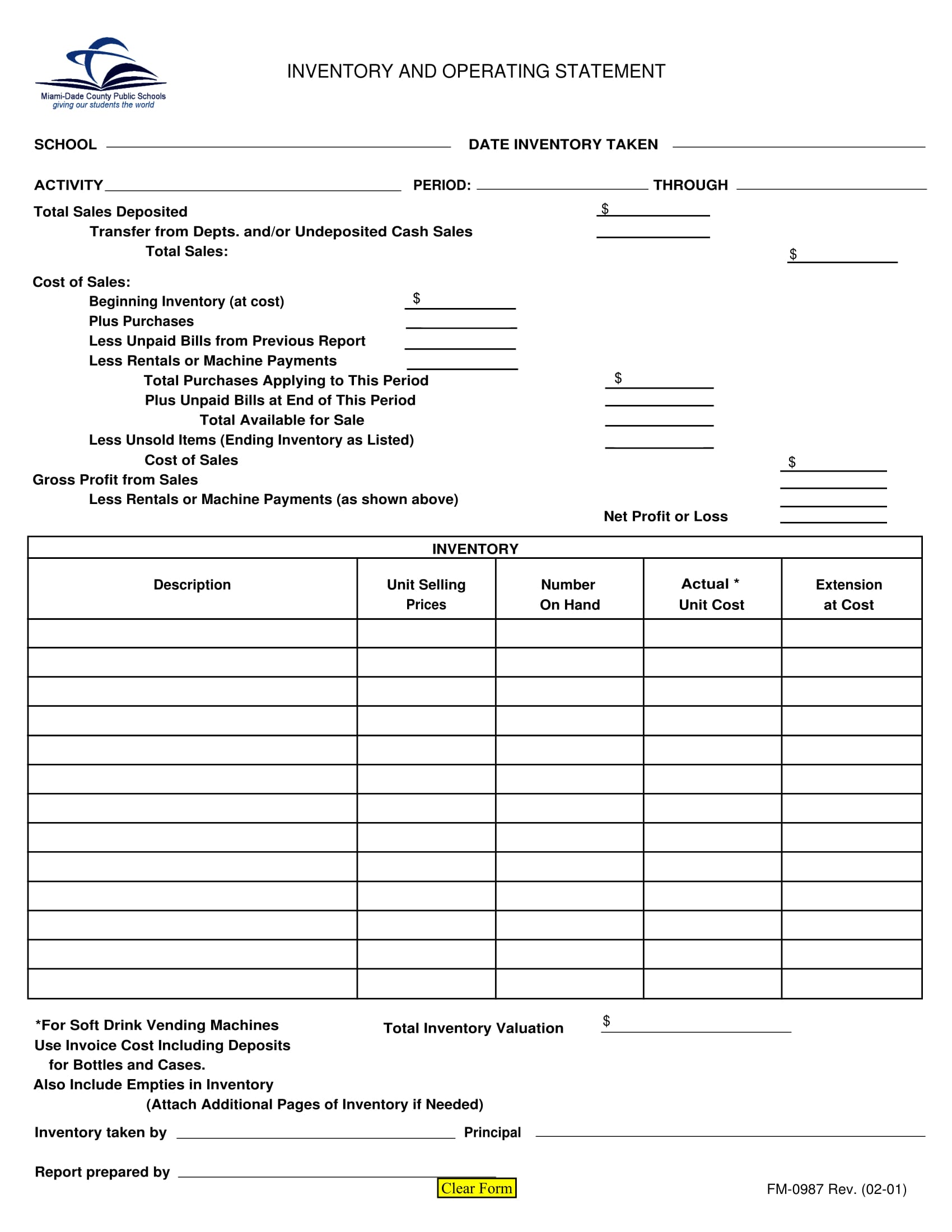 inventory and operating statement form 1