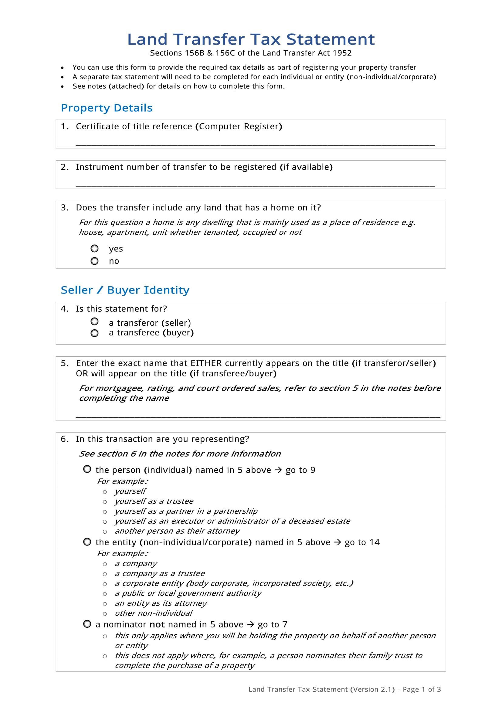 land transfer tax statement form 01