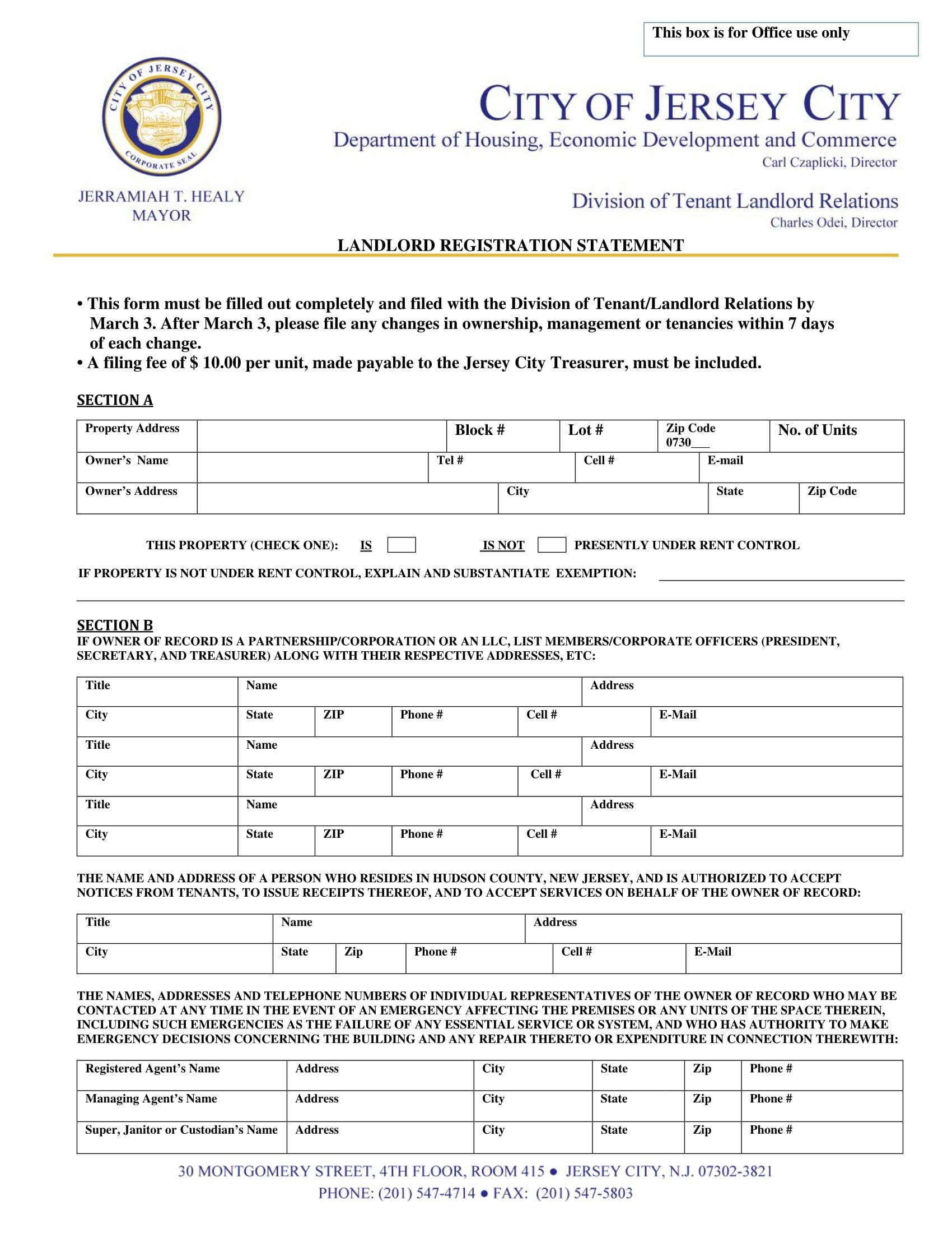 landlord city registration statement form 1