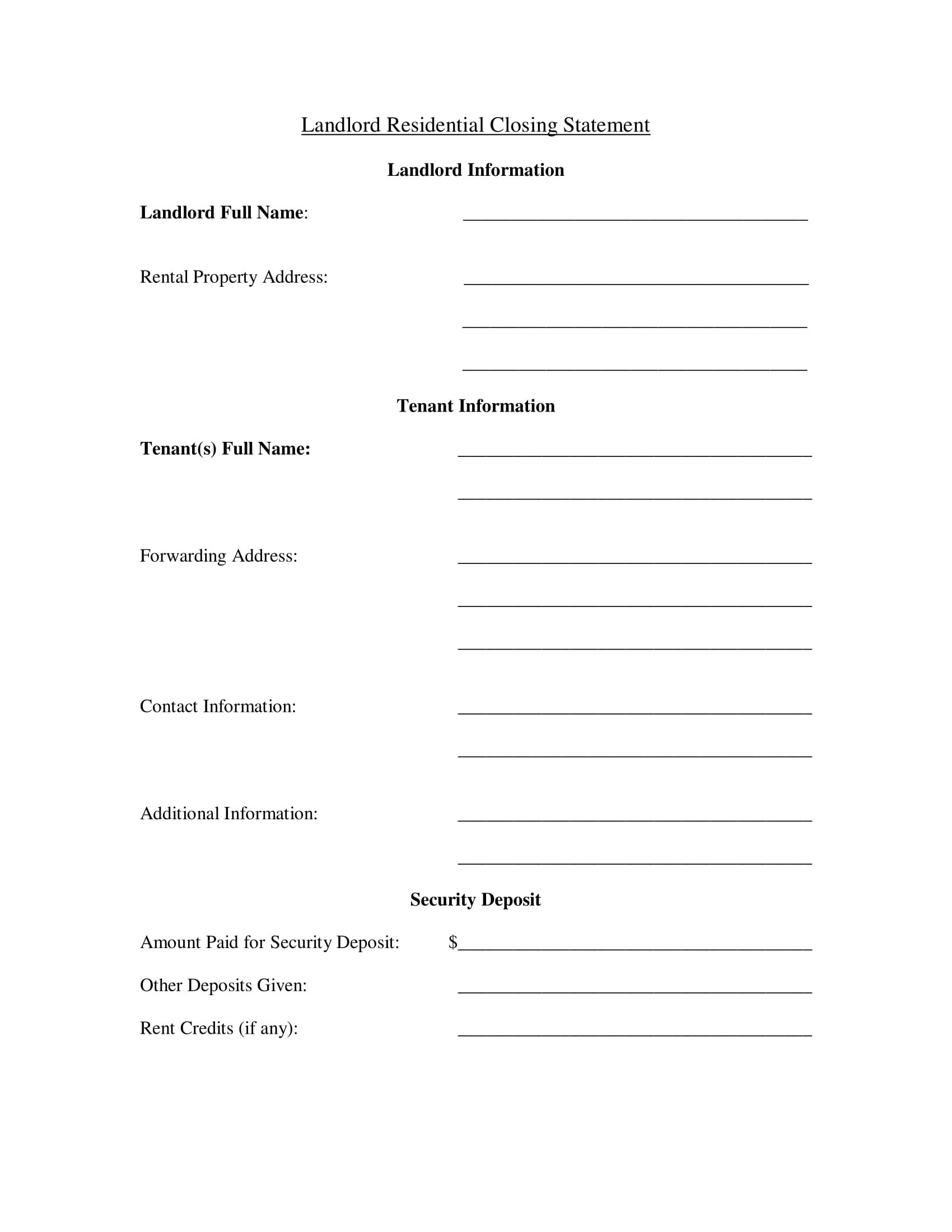landlord residential closing statement form 1