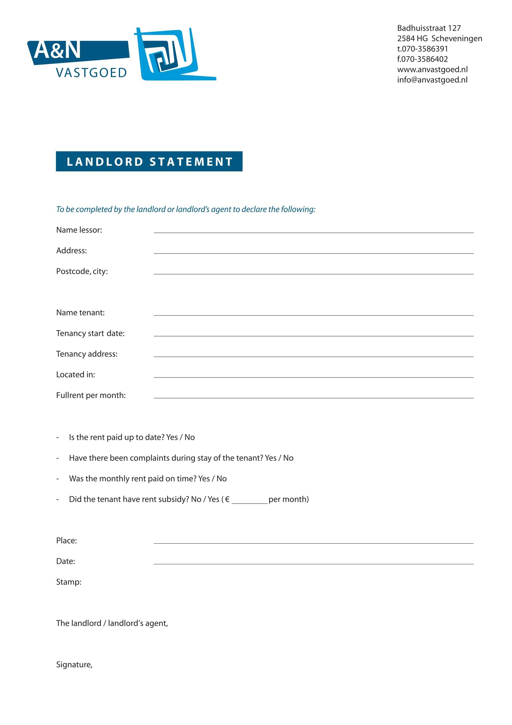 landlord statement form sample 1