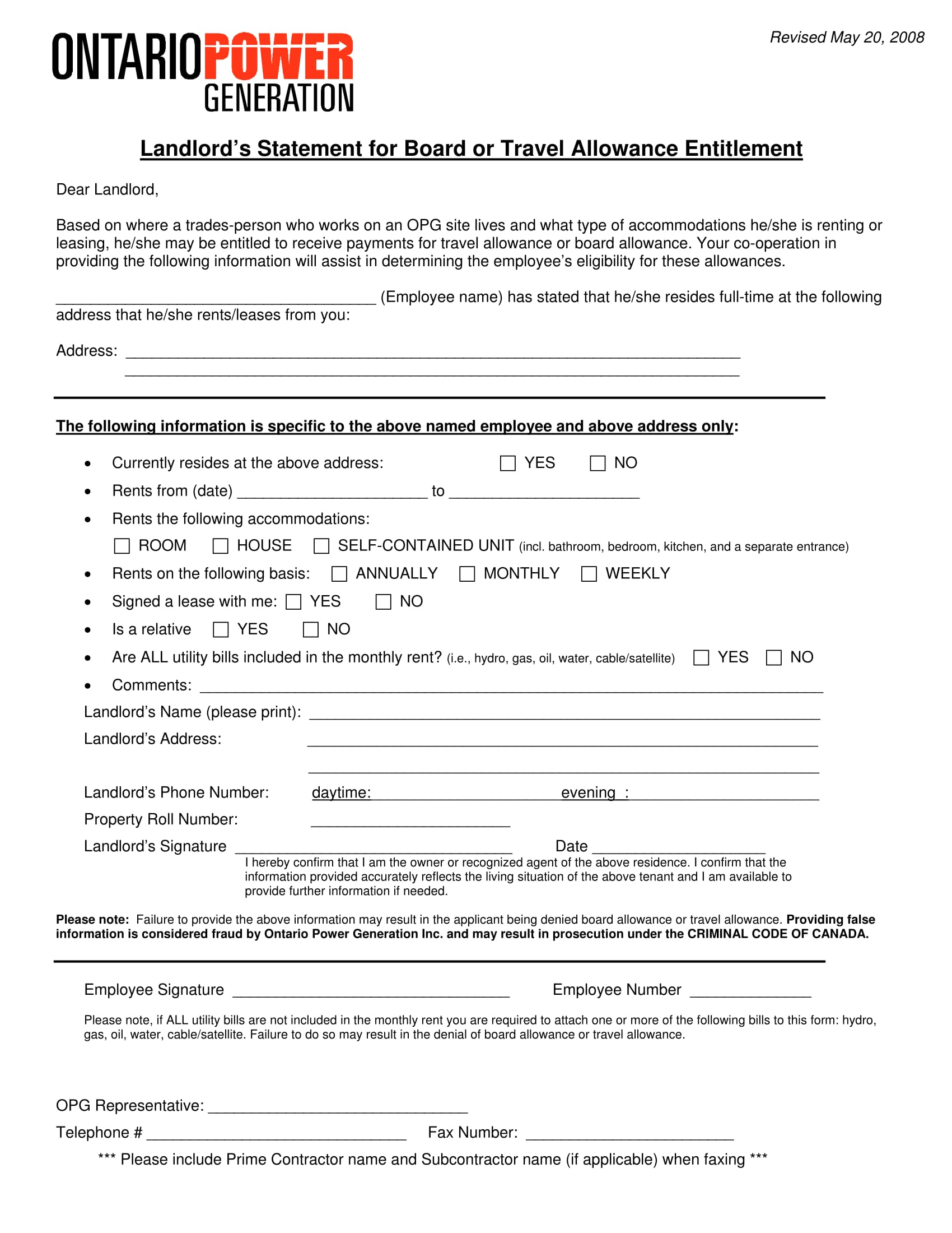 landlord statement for allowance form 1