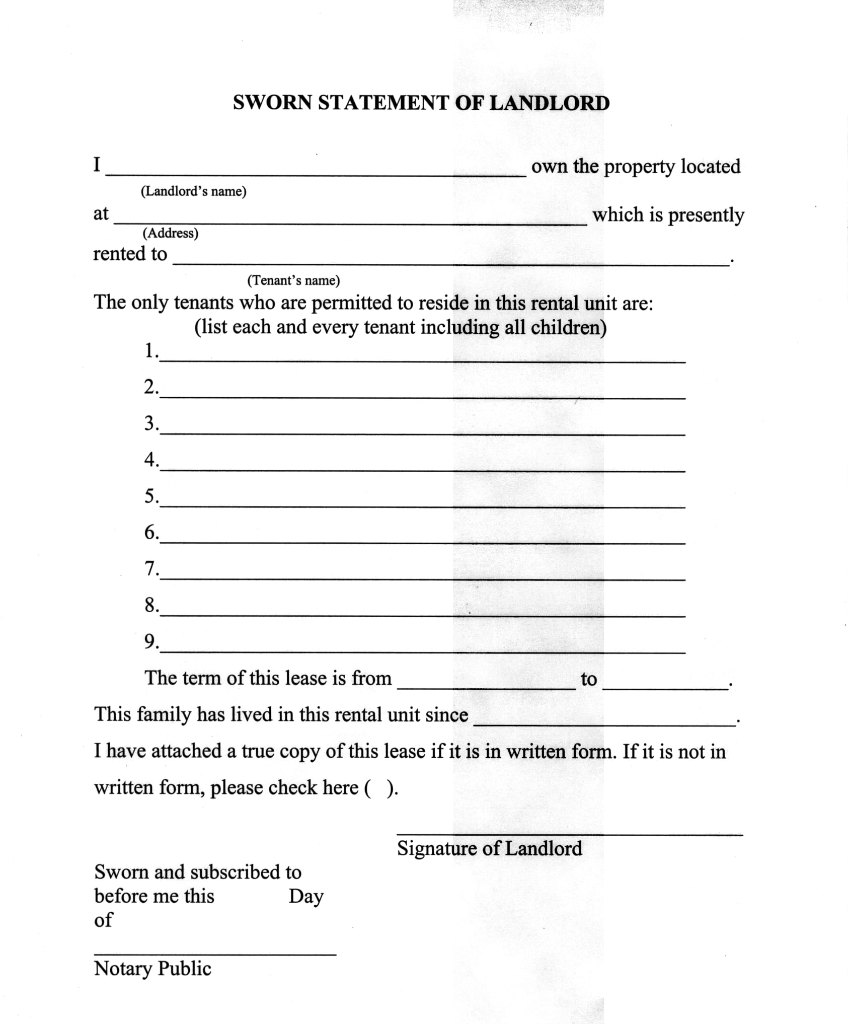 landlord sworn statement form 1