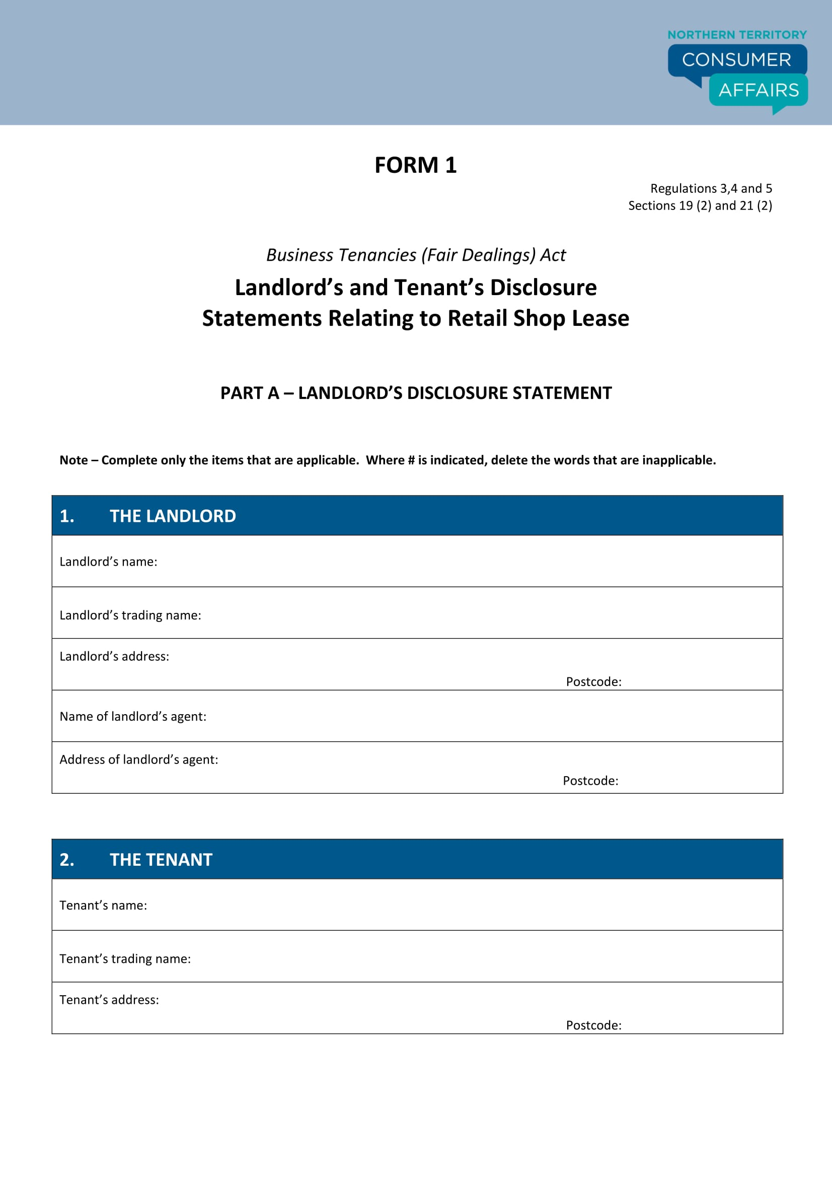 landlord tenant disclosure statement form 1