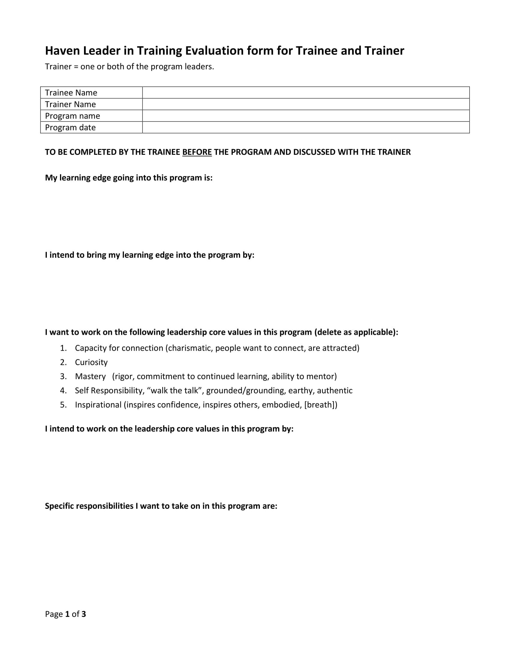 leadership trainee evaluation form 1