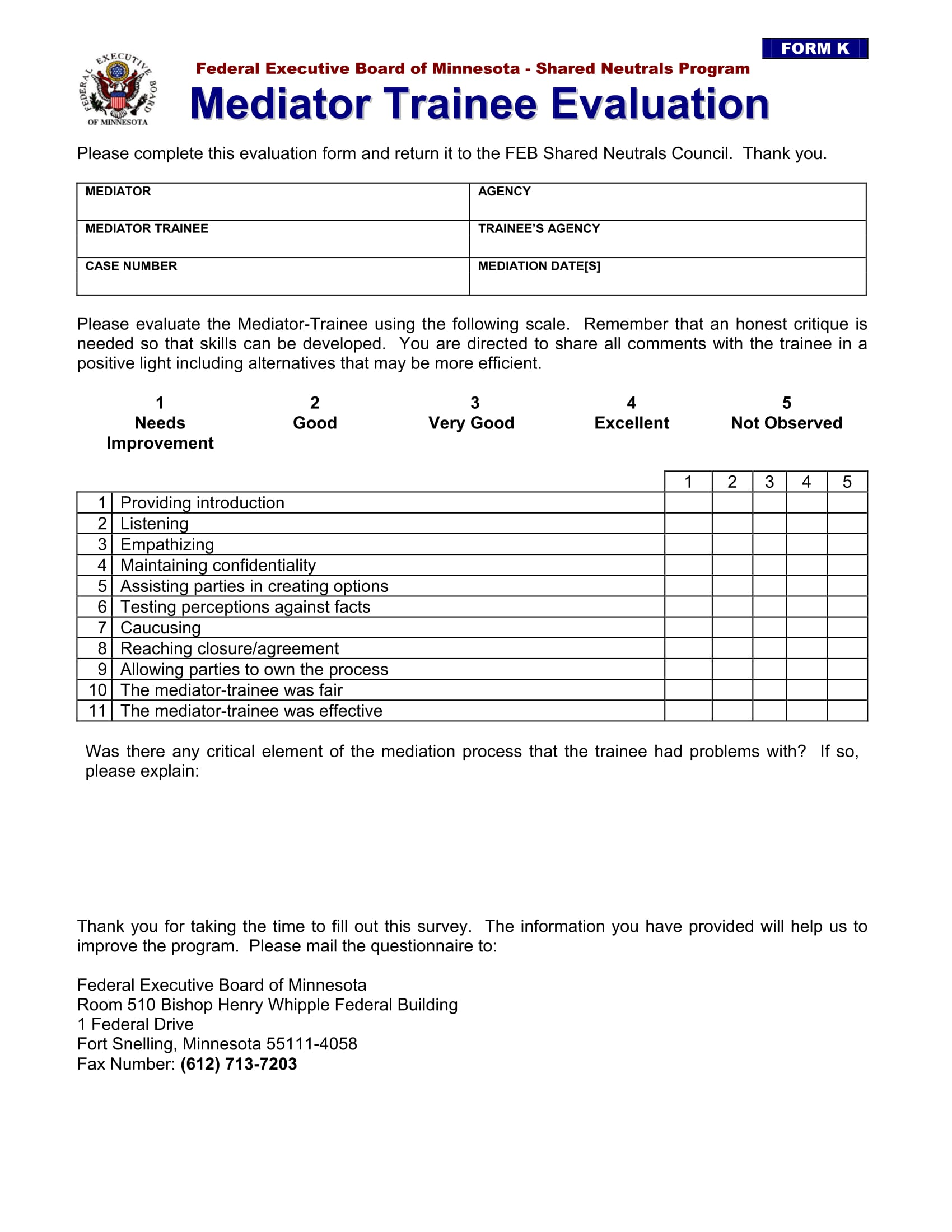 Mediator Trainee Evaluation Form
