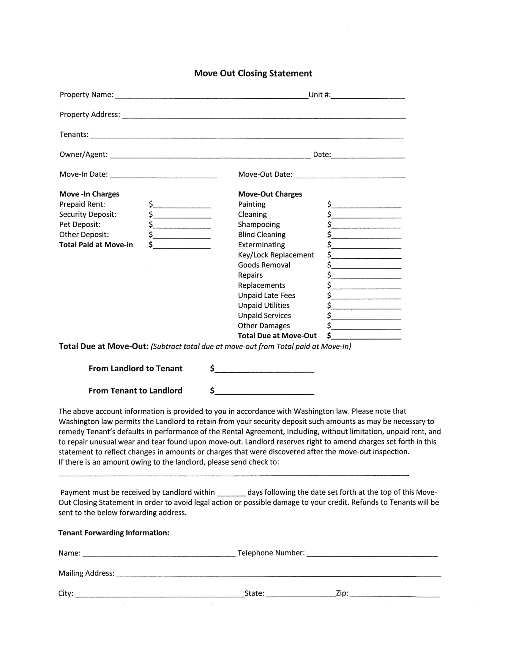 move out closing statement form 1