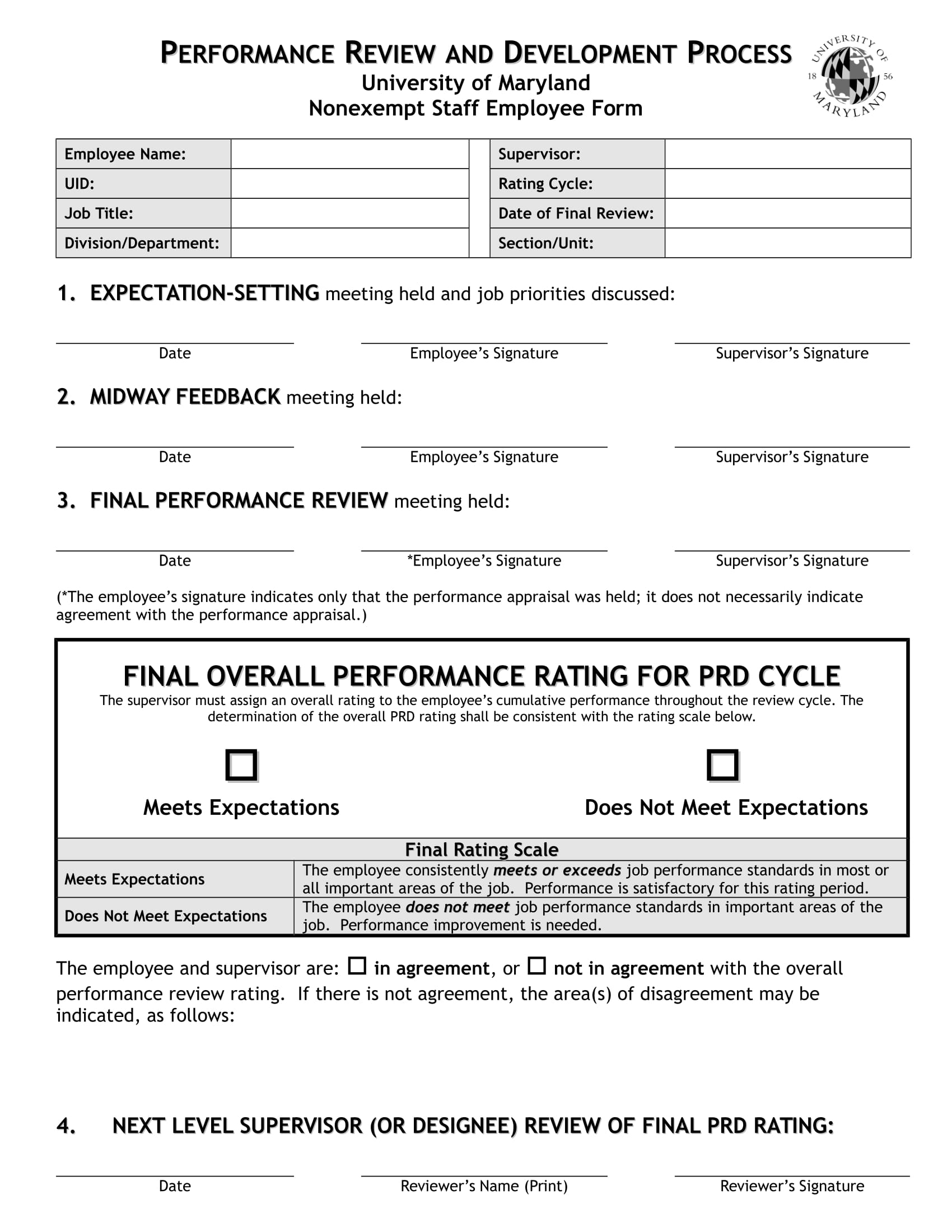 nonexempt staff employee review form in doc 1
