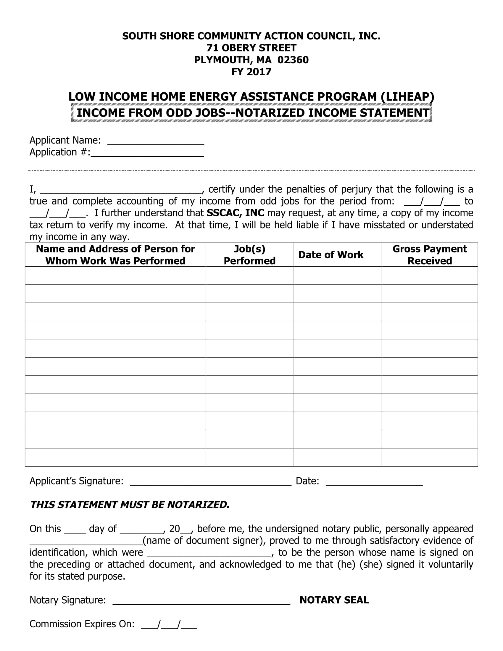 notarized income statement form 1