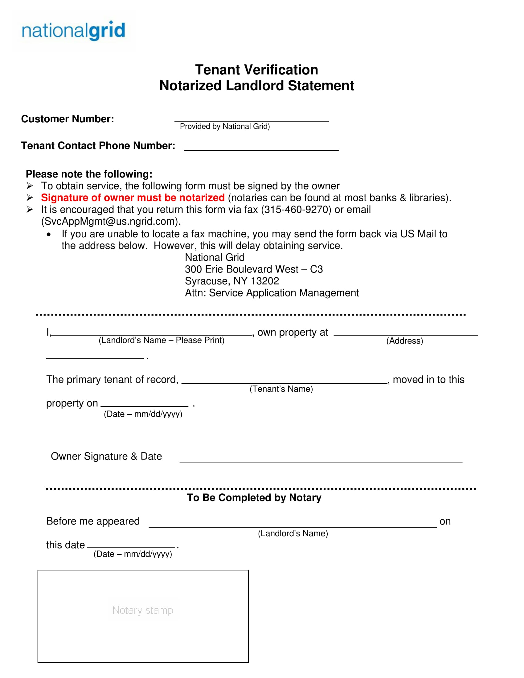 notarized landlord statement form 1