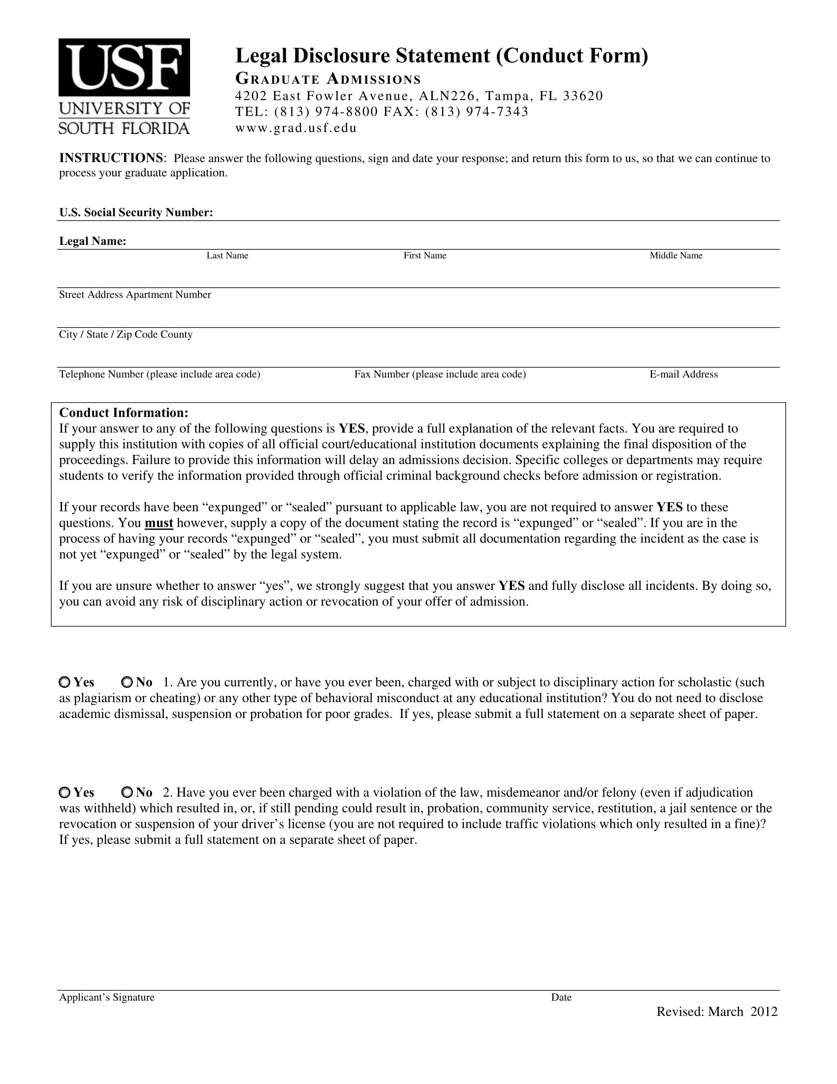 Official-Legal-Disclosure-Statement-Form-1 Job Application Form Sample on personal statement for, letter for fresher high school graduate, form for un, letter introduction for, quad graphics, letter intent, approved information for,