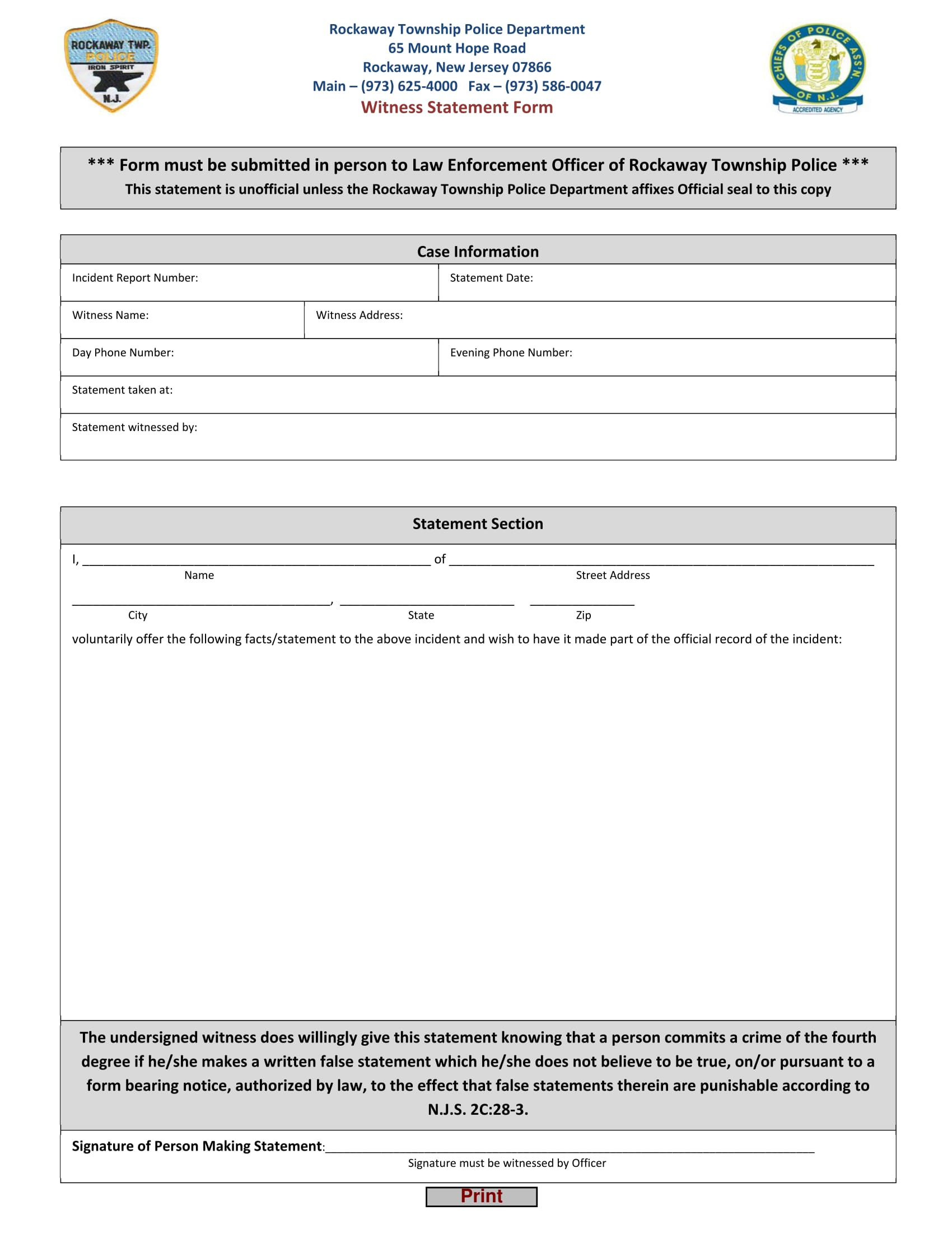 official police department witness statement form 1