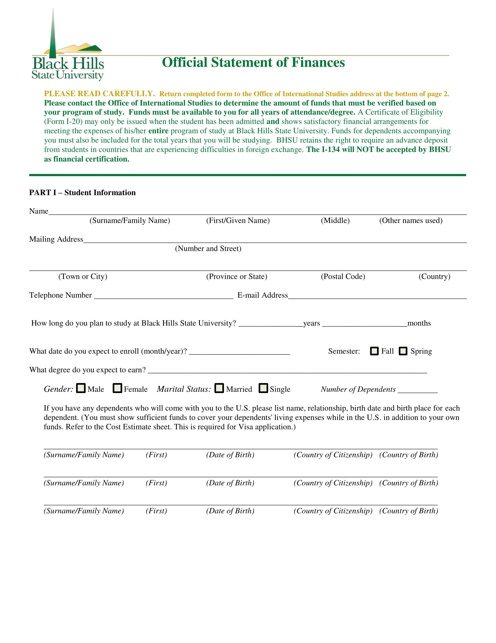 official statement of finances form 1