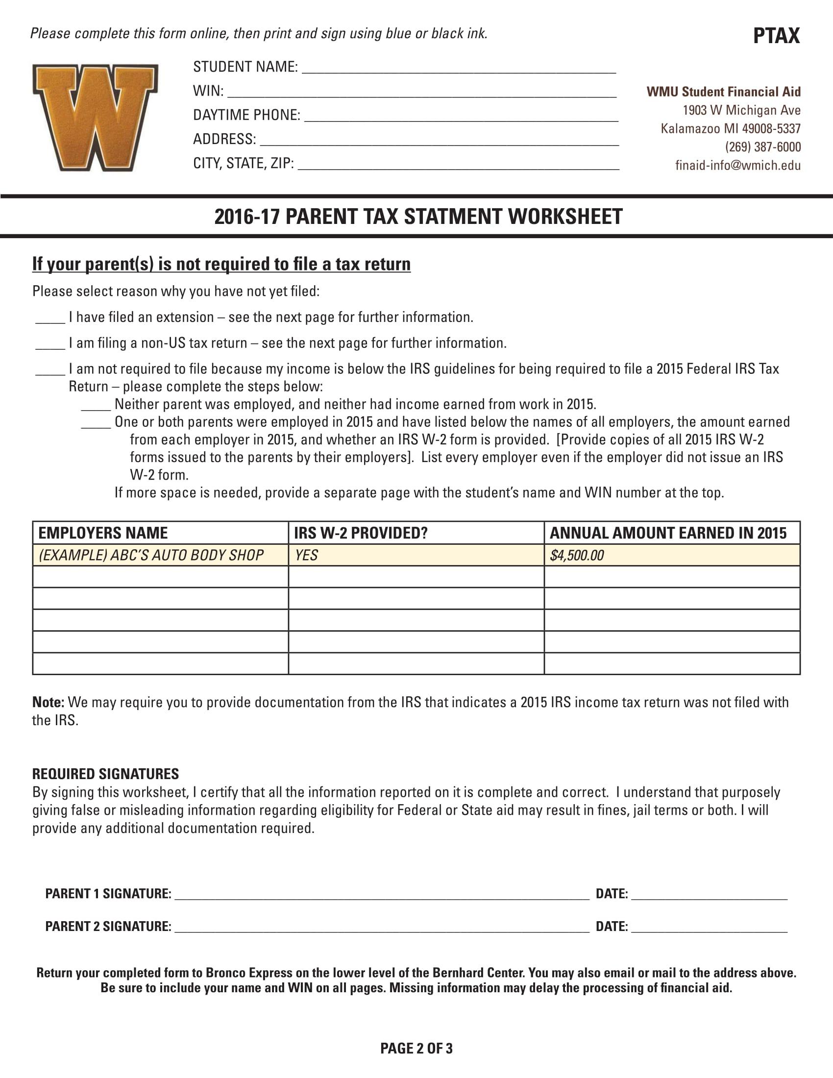 parent tax statement worksheet form 2