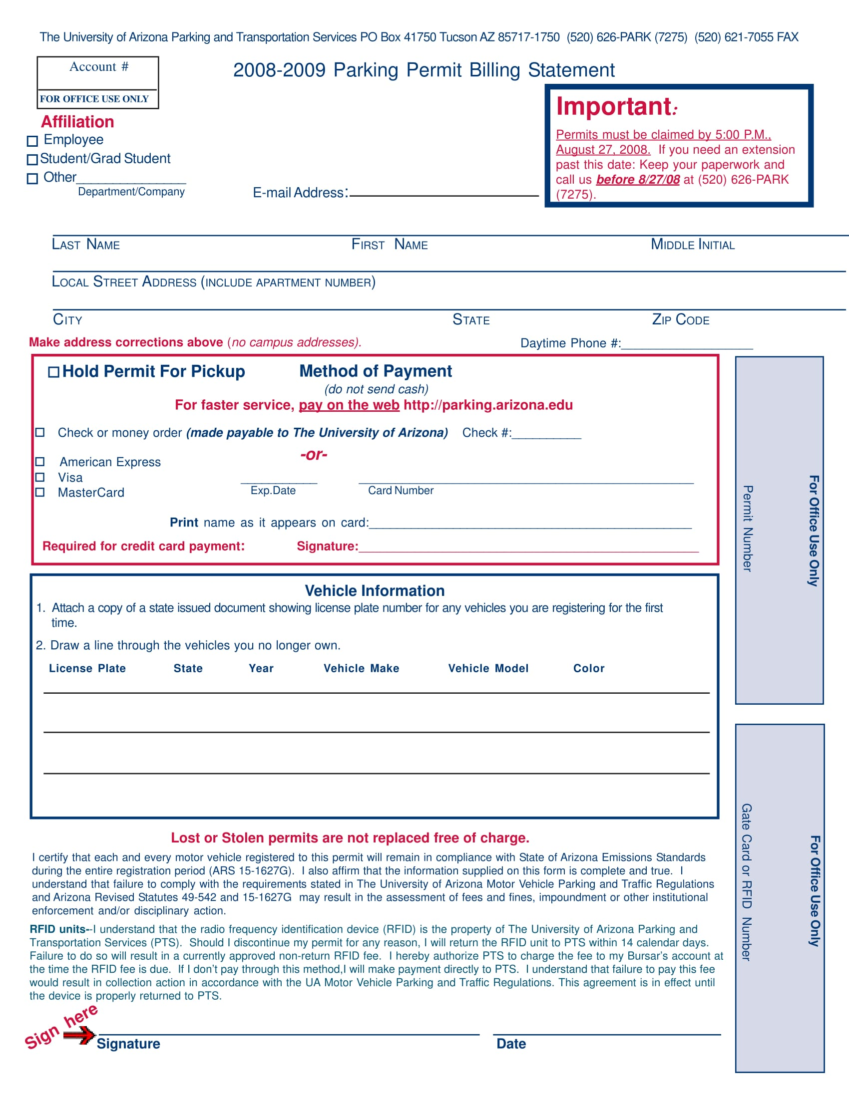 parking permit billing statement form 1