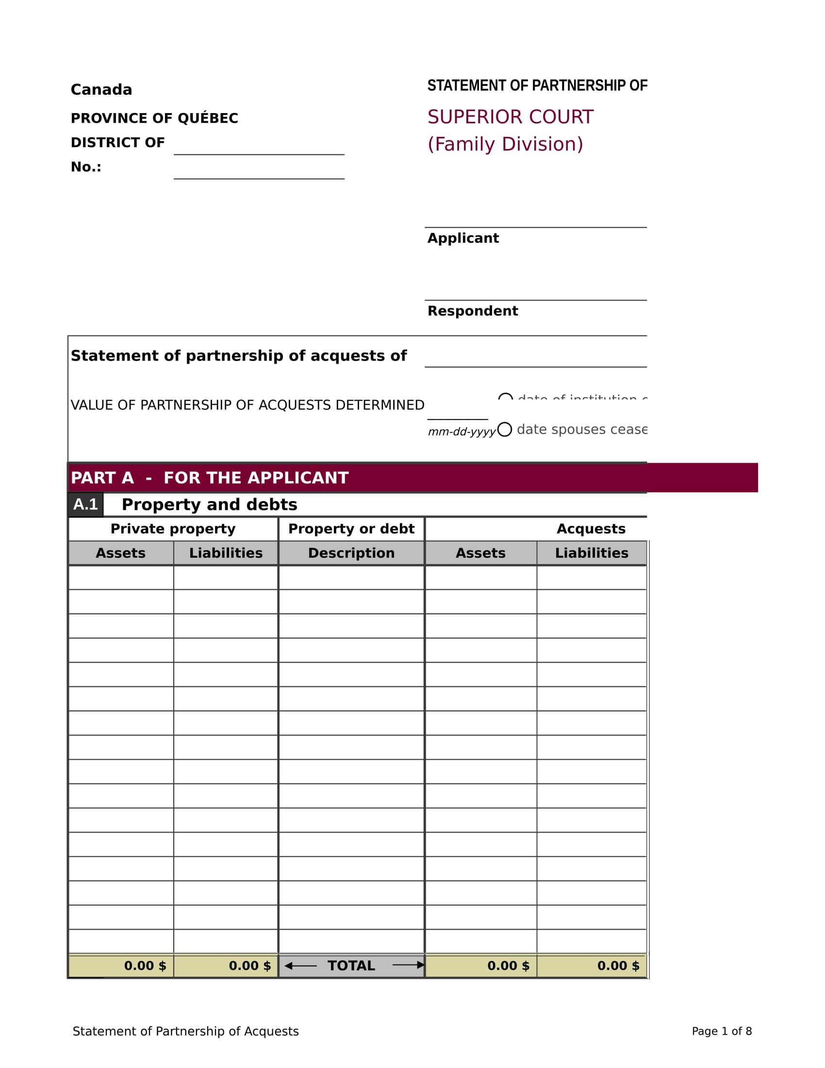 partnership acquest statement form 1