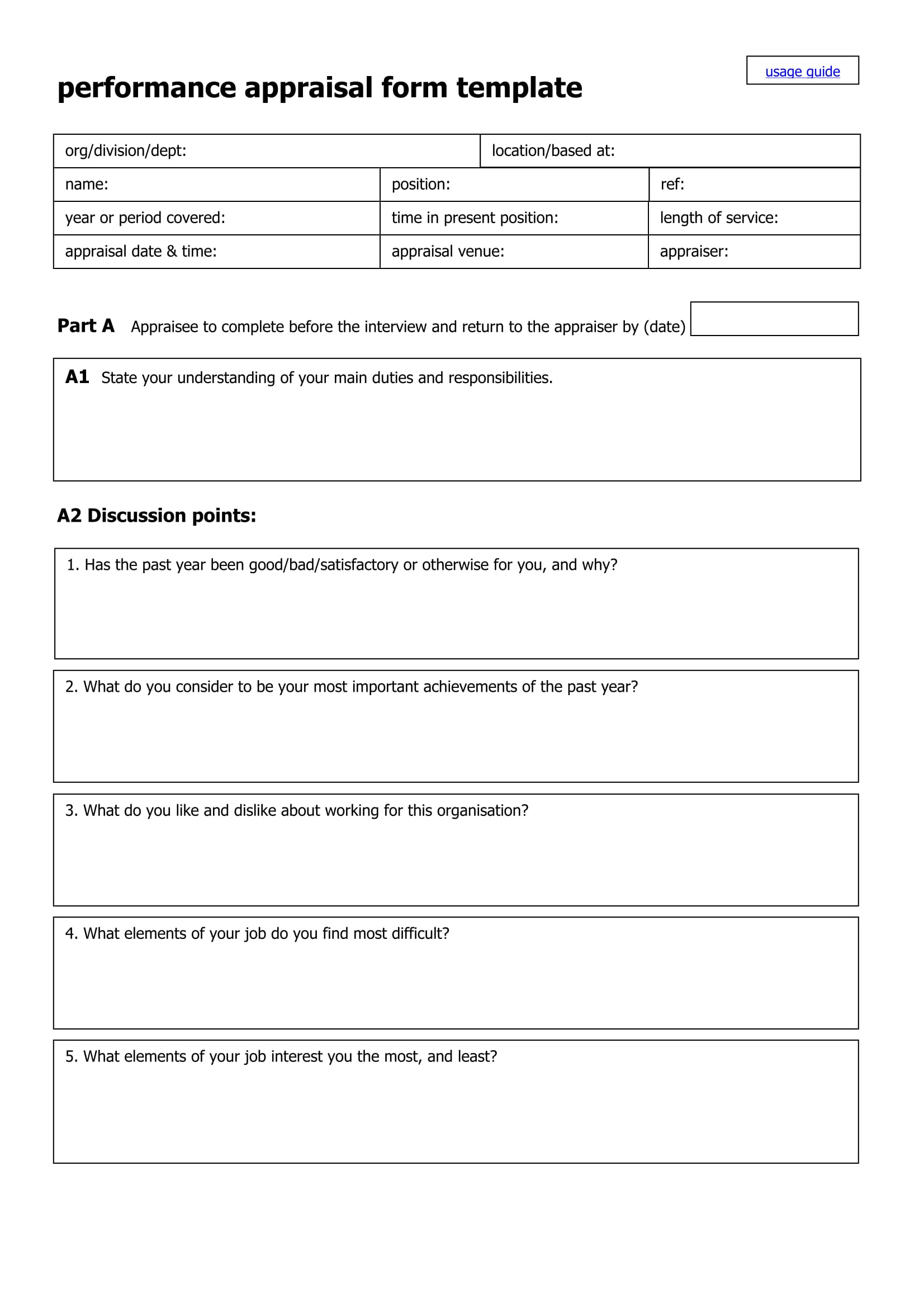 template appraisal form – Sample Appraisal Form