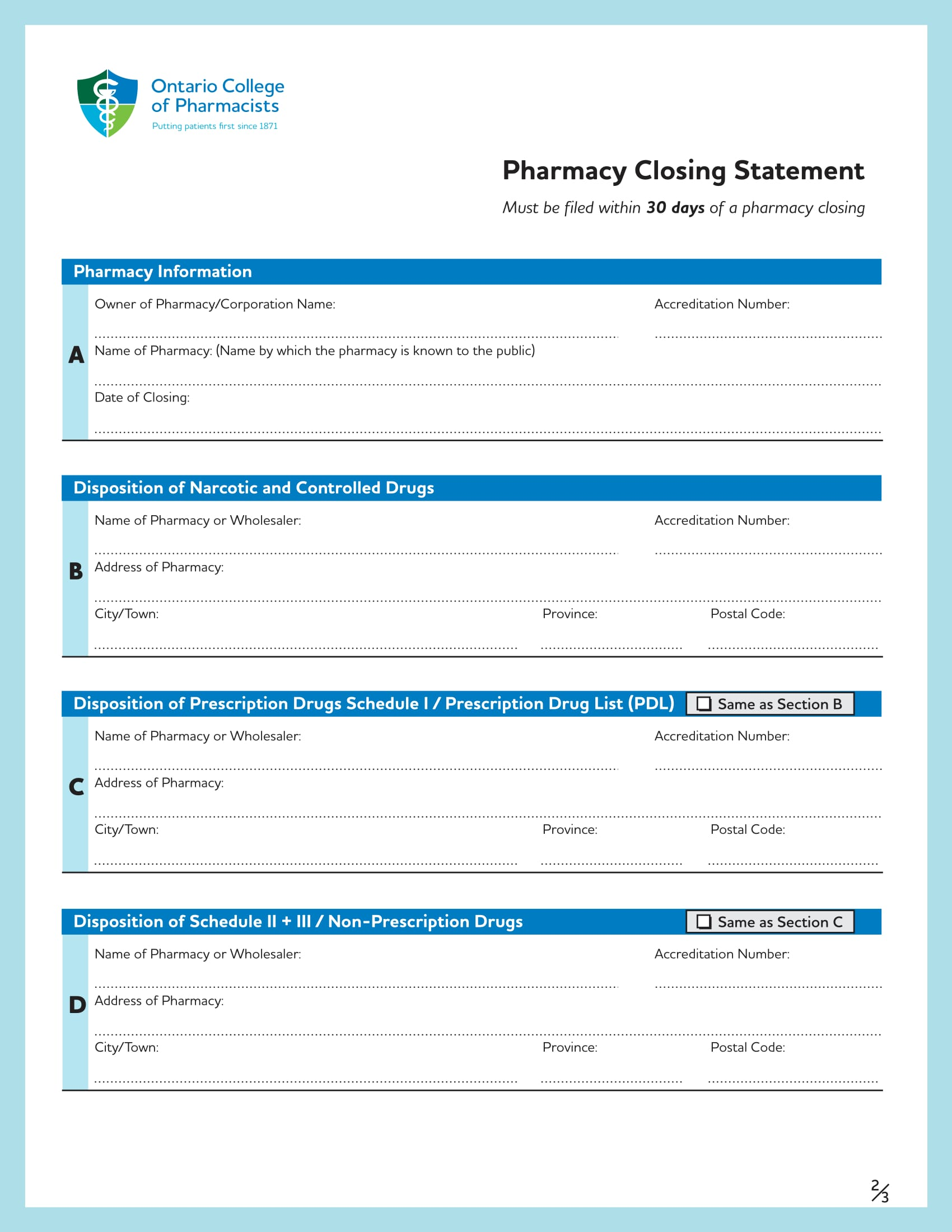 pharmacy closing statement form 2