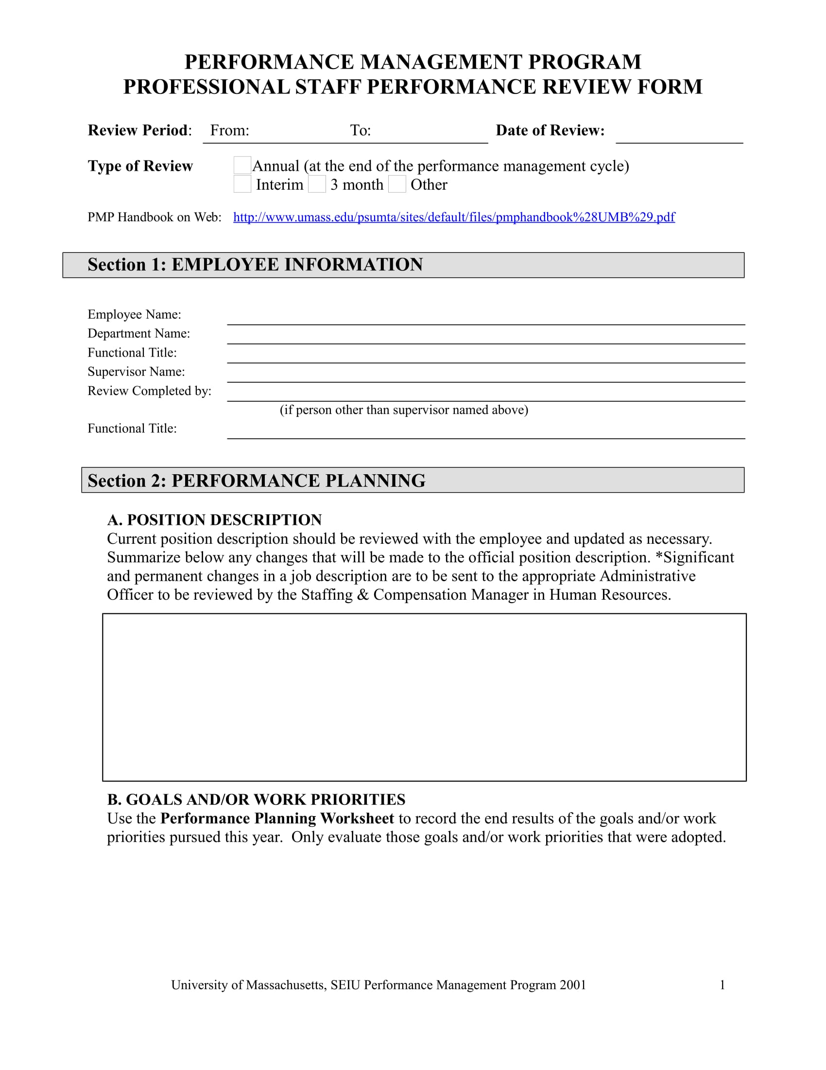 professional staff performance review form 1