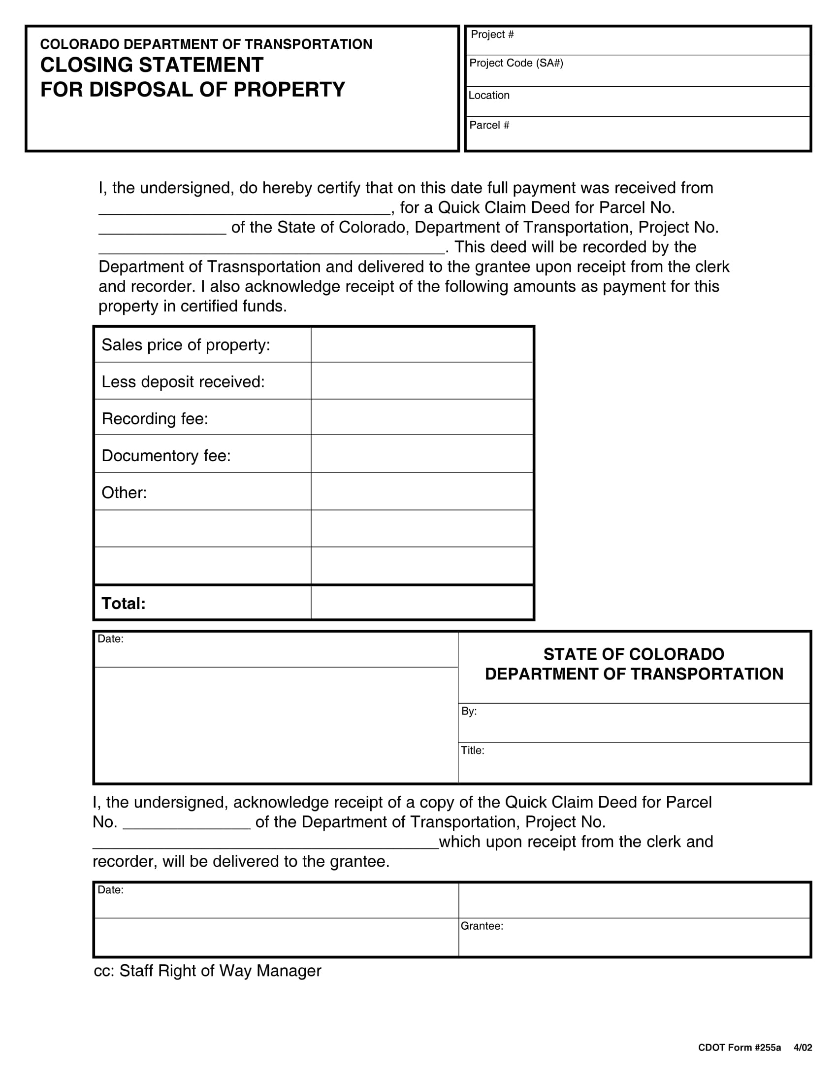 property disposal closing statement form 1